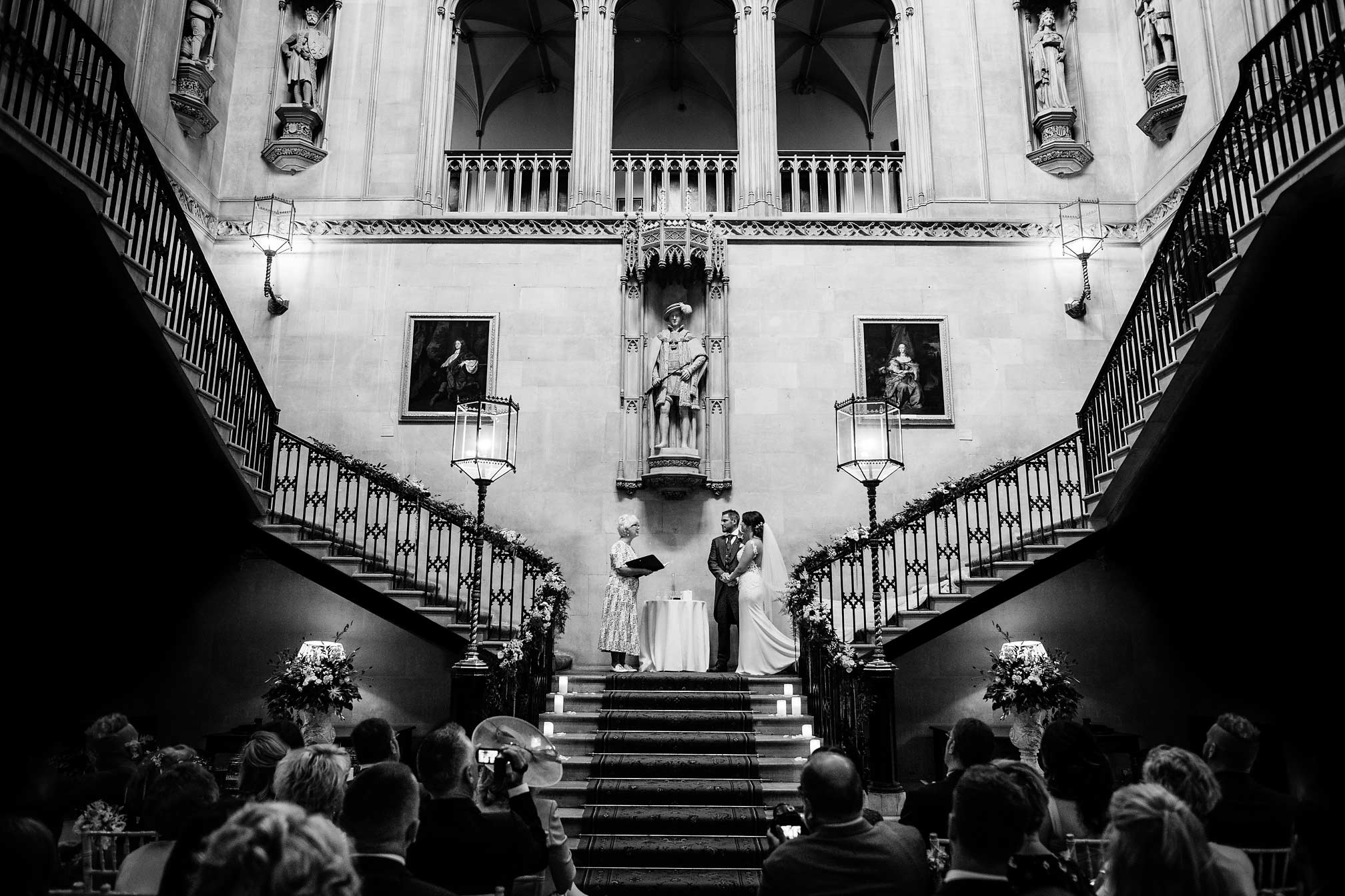 Wedding ceremony on the stairs at Ashridge House