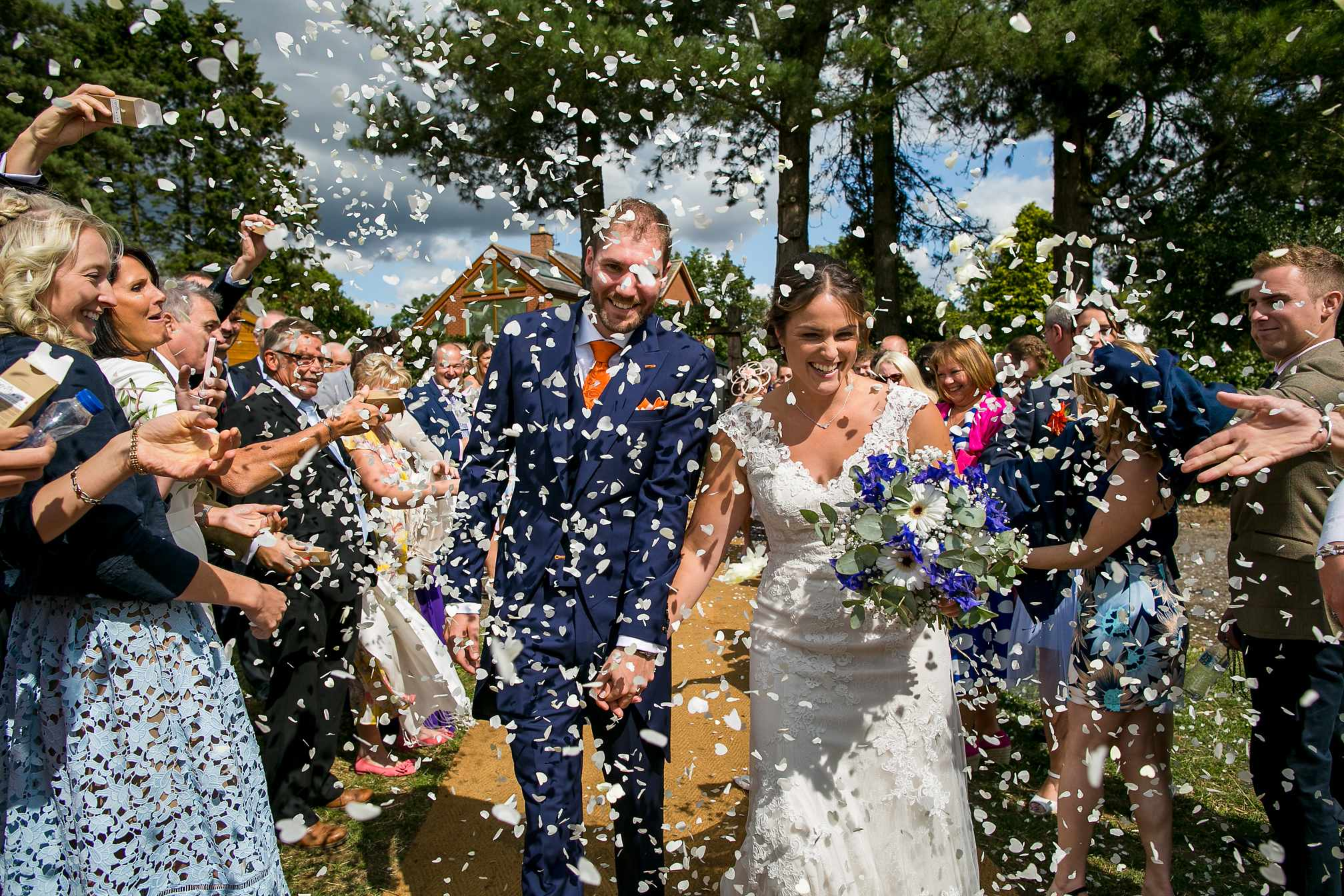 Back yard wedding confetti