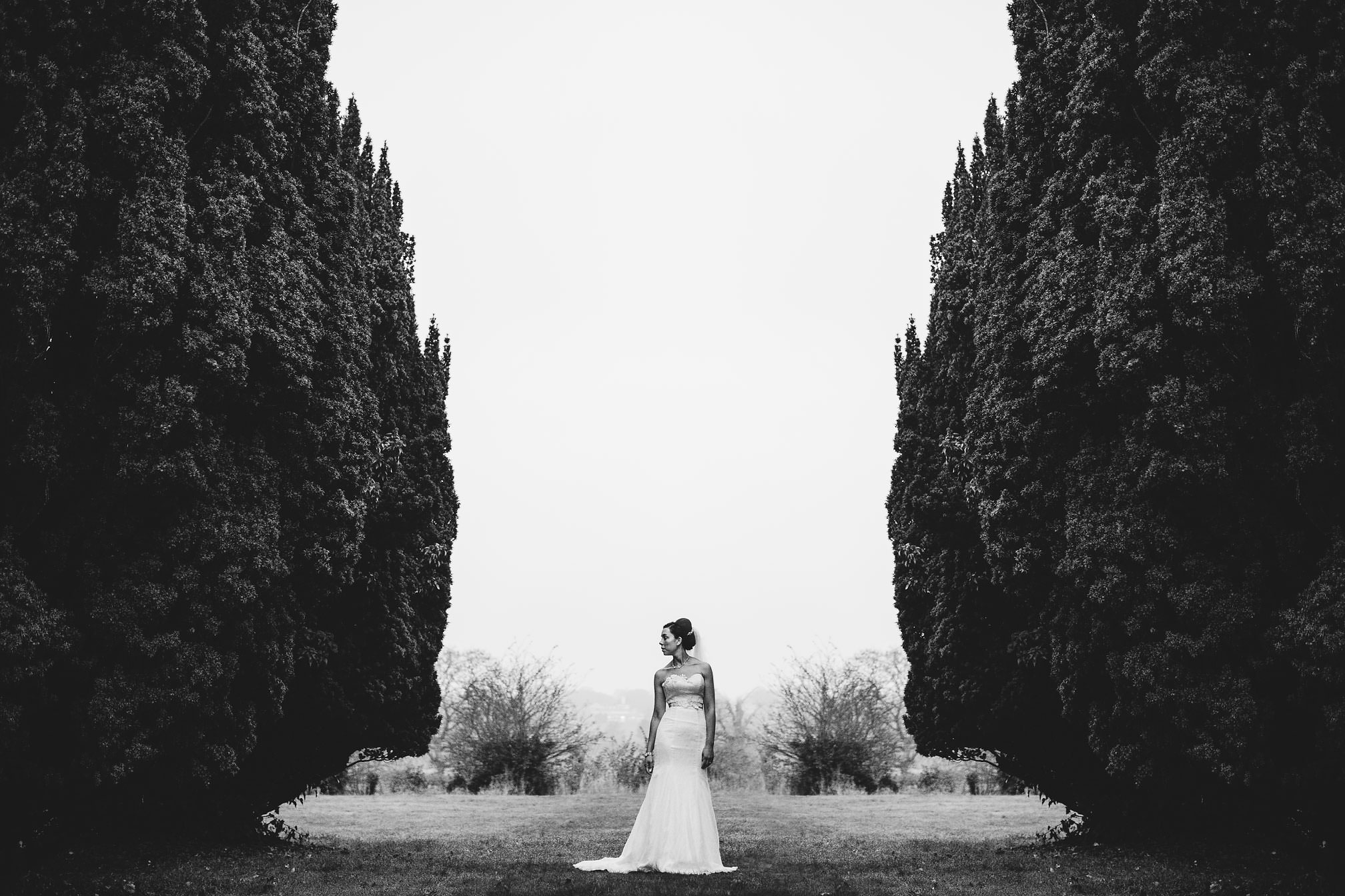 MyWed Editors Choice - Barton Hall, Northants, Bridal Portrait between the trees