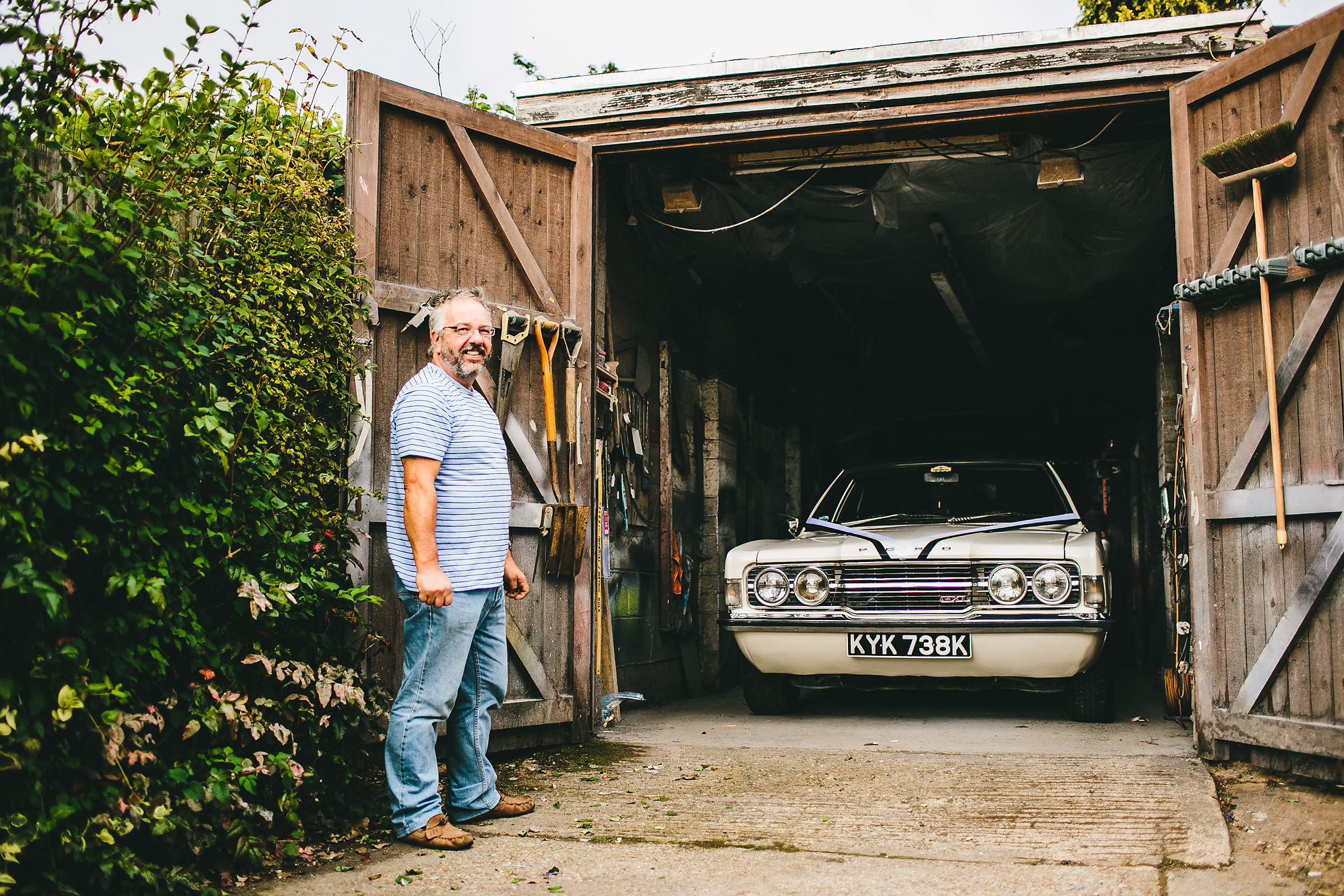 Father of the Bride shows off his wedding car
