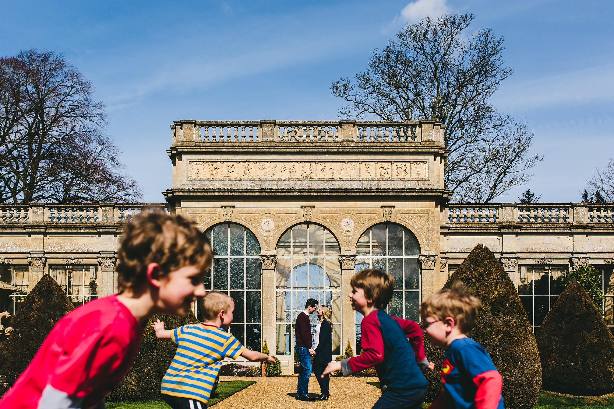 Kids running around at a pre-wedding shoot, Castle Ashby