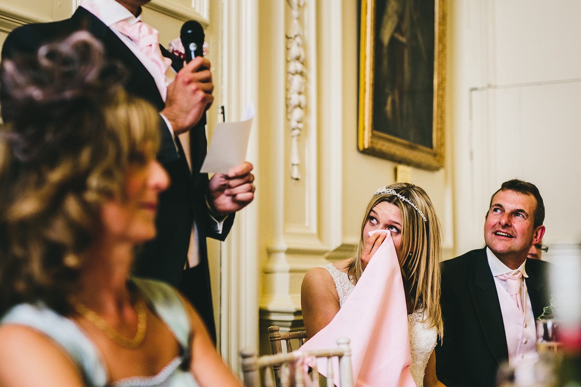 Bride crying during the groomsman speeches