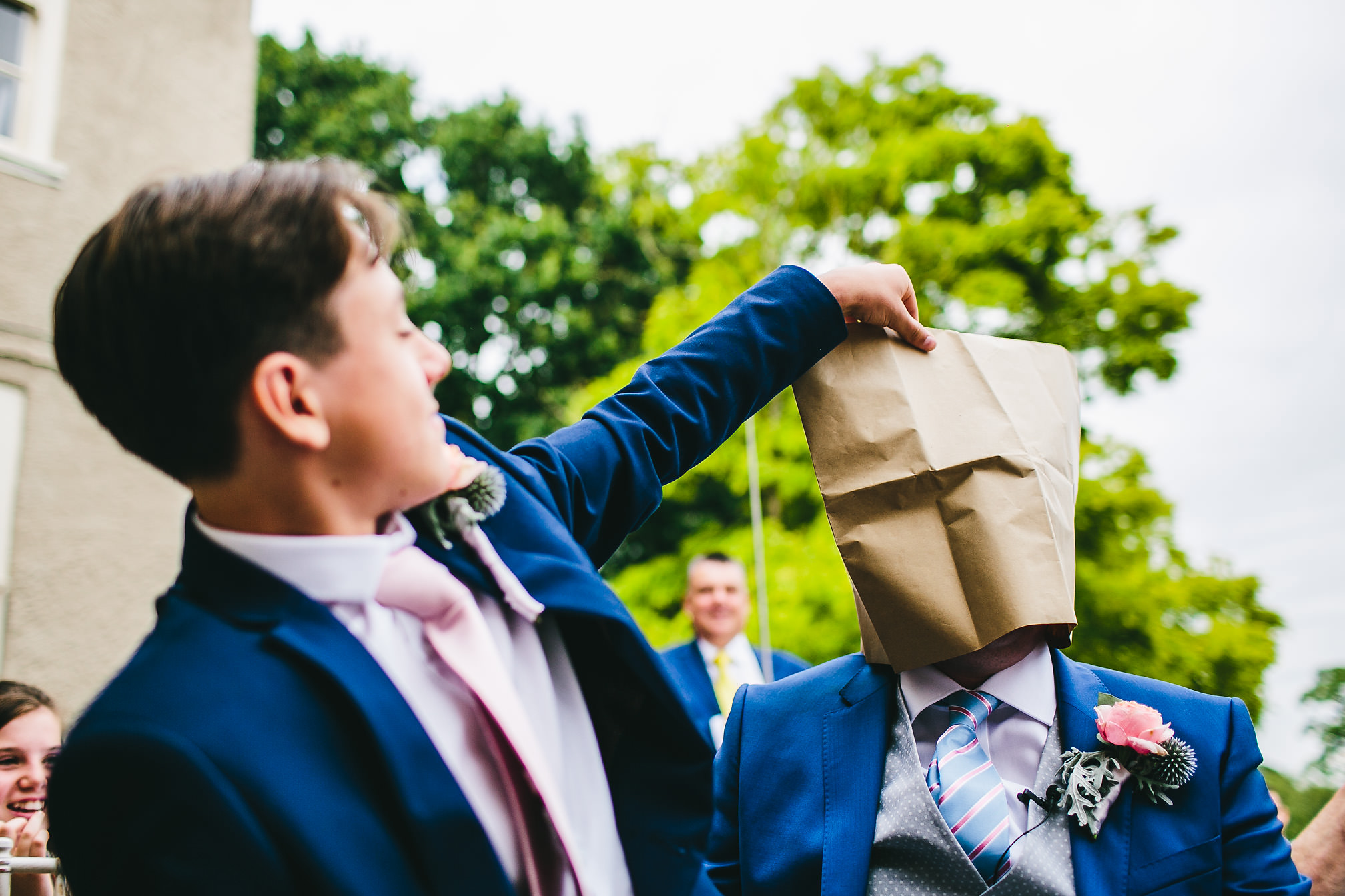 Paper bag on the grooms head
