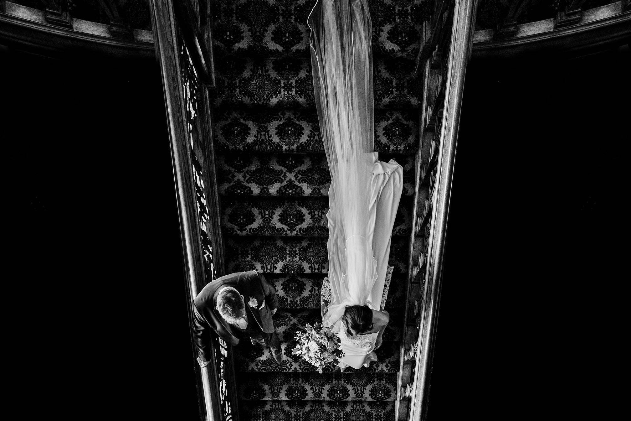 Black and White, Fine Art, Bride's arrival down the staircase