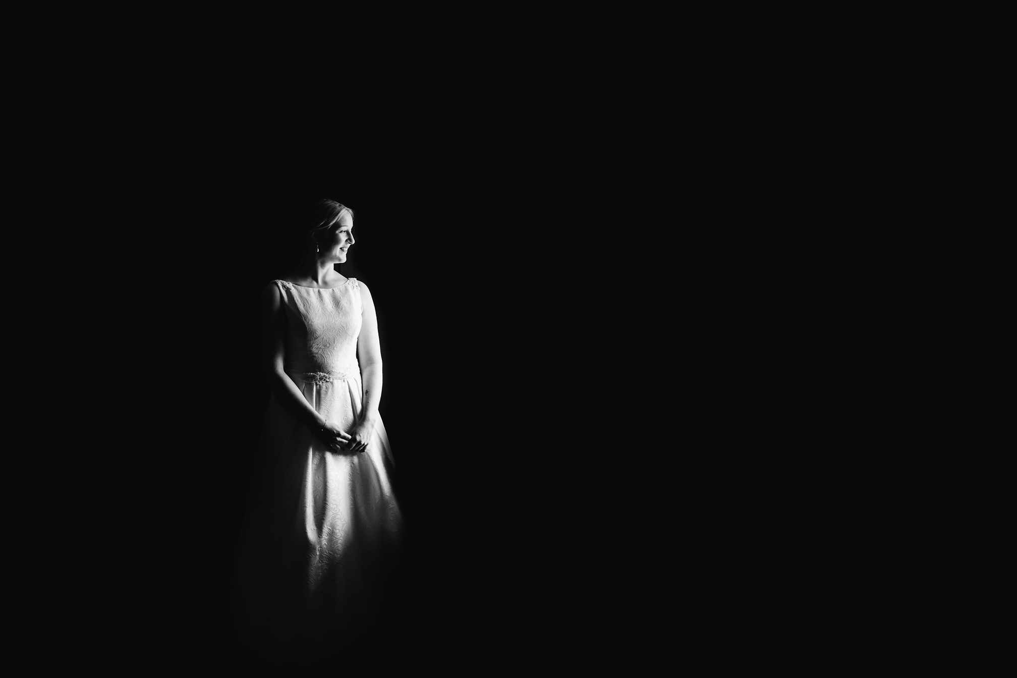 Black and white bridal portrait using window light