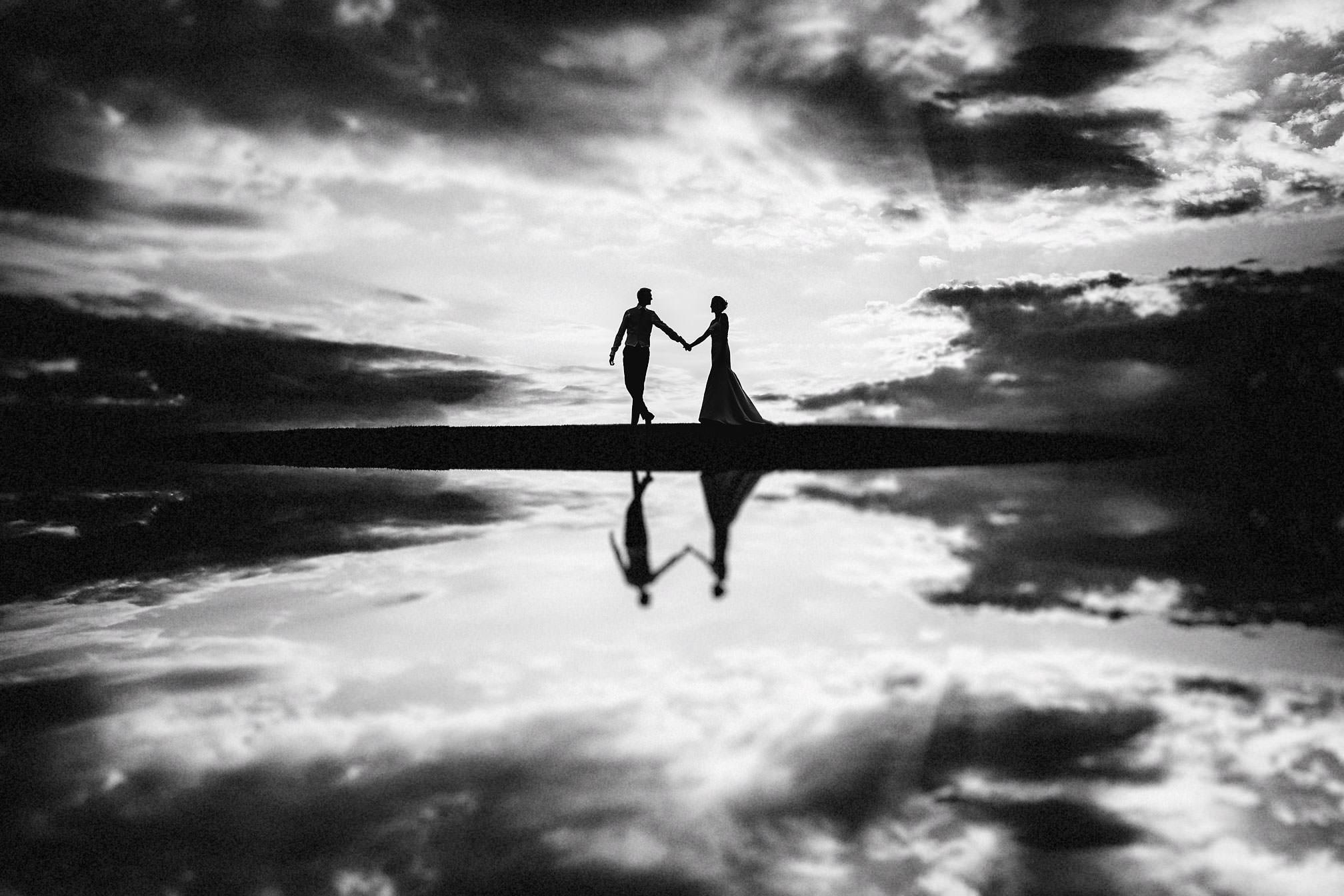 Katie & David, Reflection Silhouette Wedding Portrait