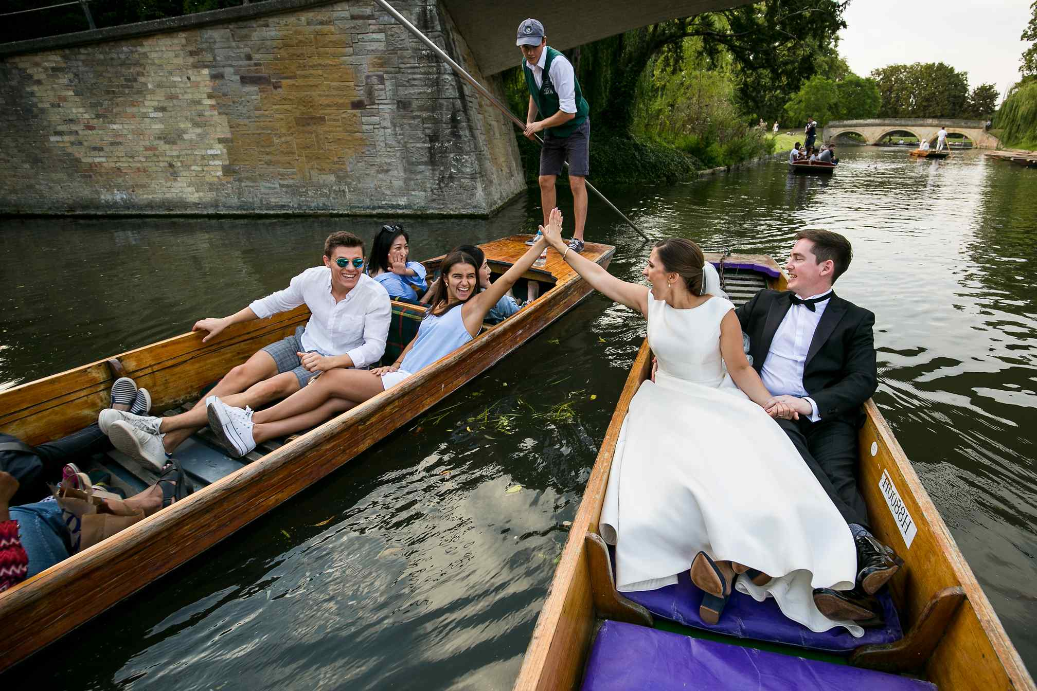 Bride and Groom Punting in Cambridge