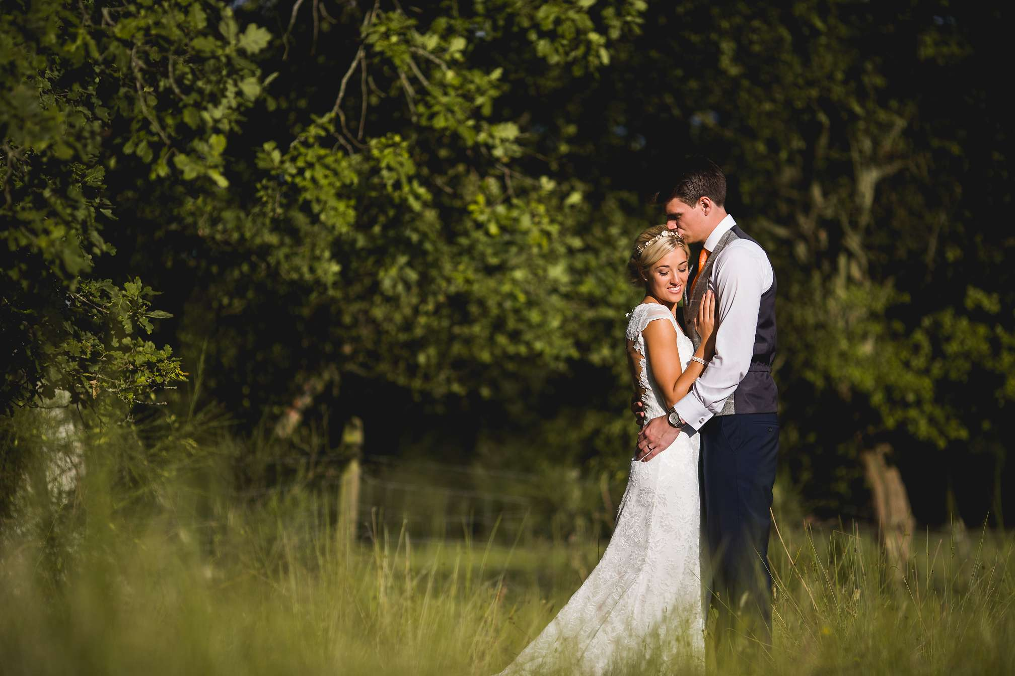 Jane and Jon during the golden hour at Brookfield Barn