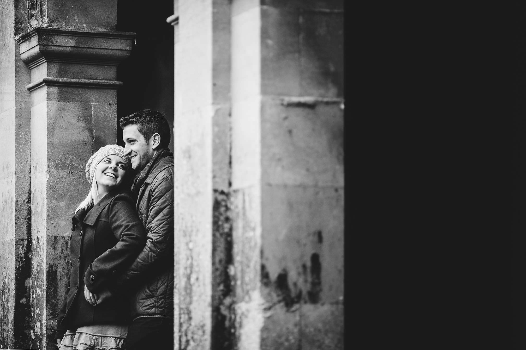 Black and White Pre-Wedding Portrait at Castle Ashby