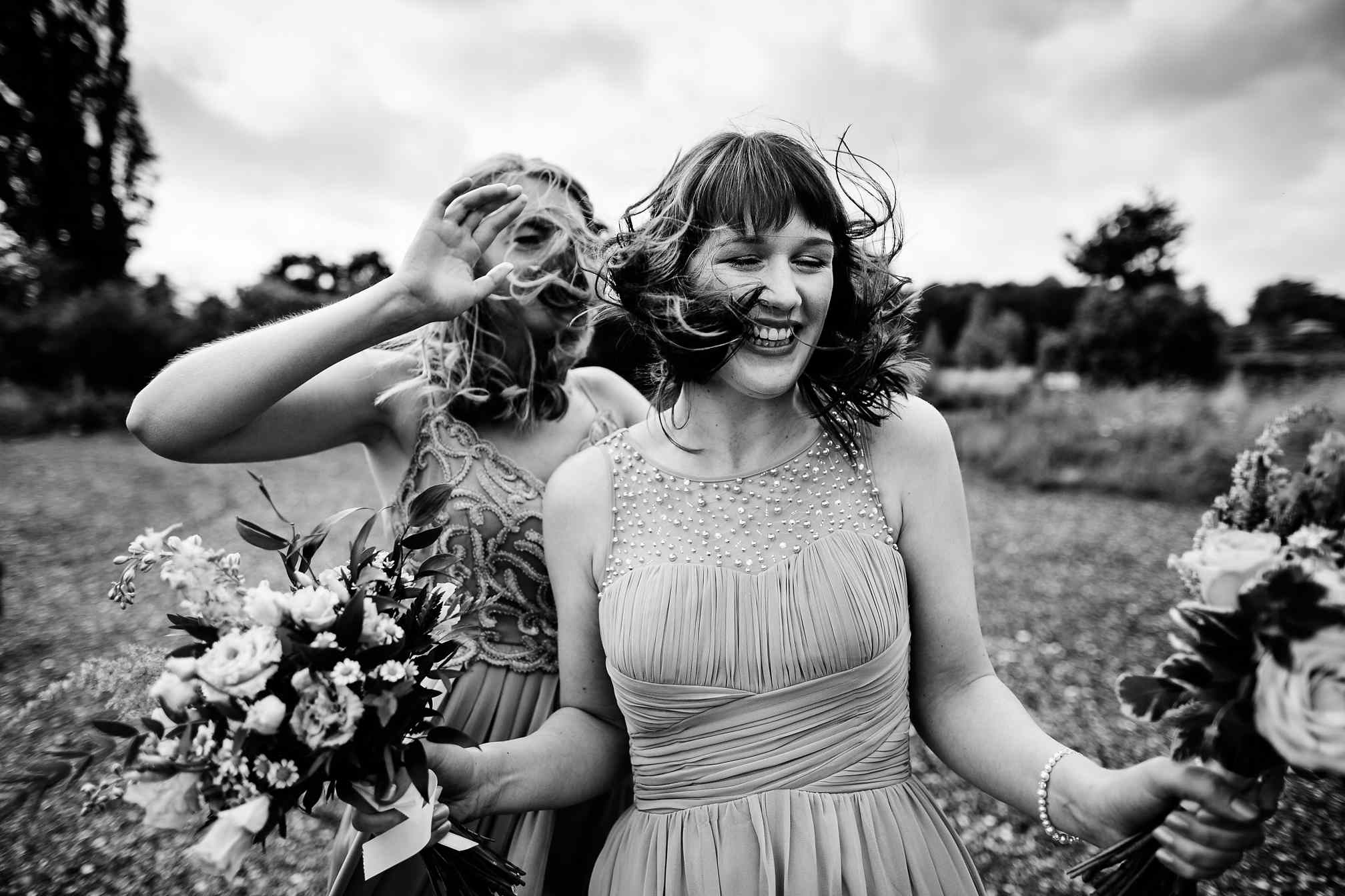 Bridesmaids hair in the wind
