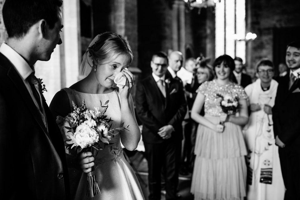 Emotional bride crying at Yelling Church