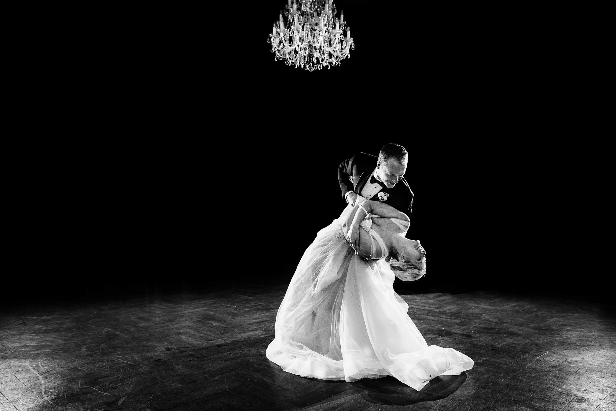 First Dance Dip in Black and White
