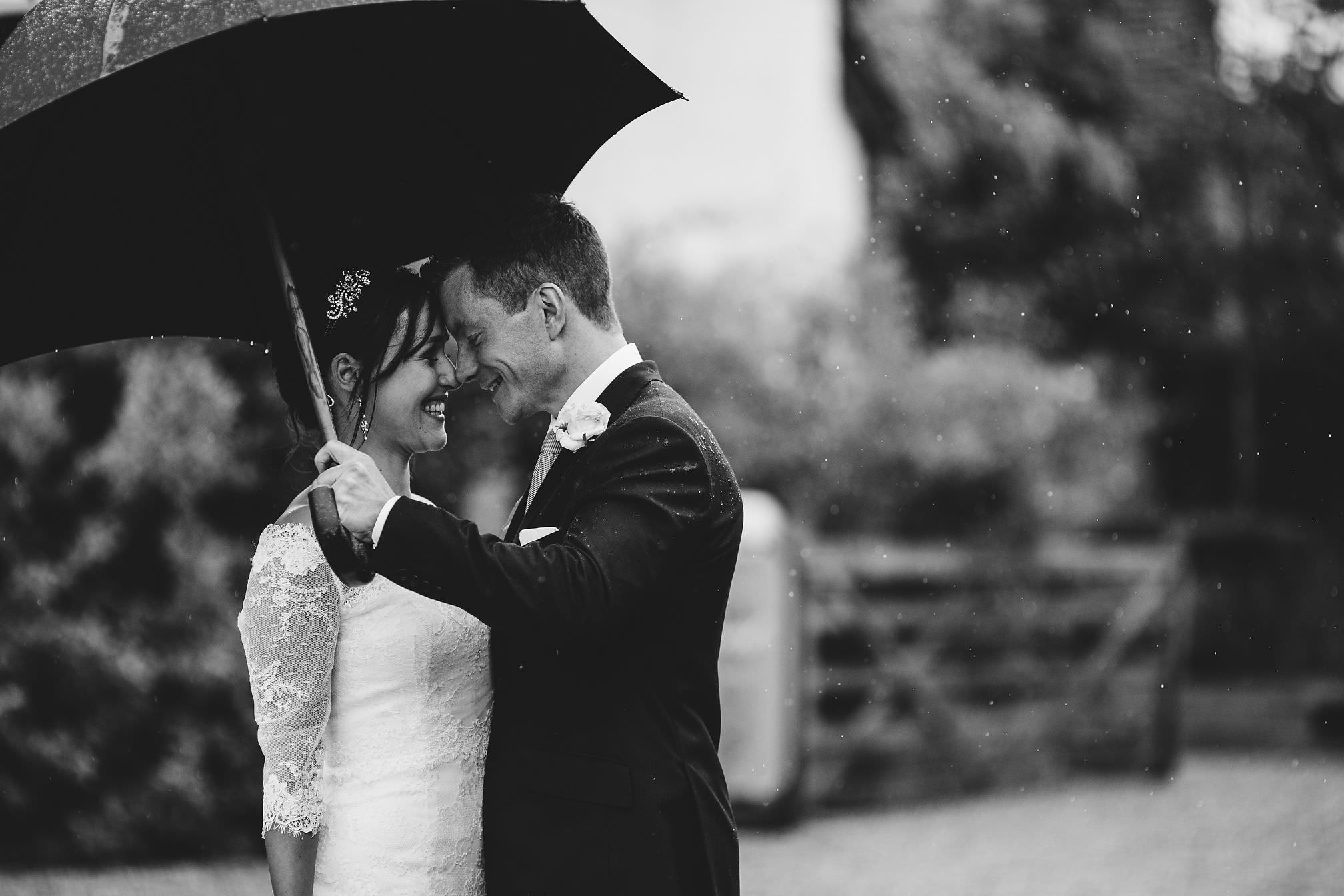 Rainy wedding portrait at Gate Street Barn