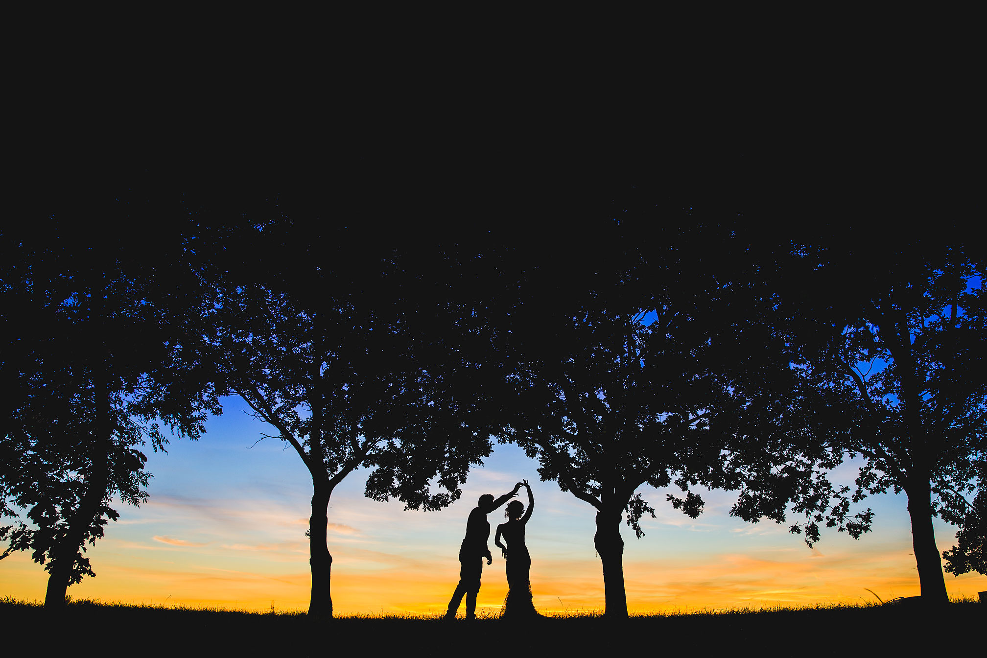 Grendon Lakes Northamptonshire, Award Winning Sunset First Dance Wedding Photo
