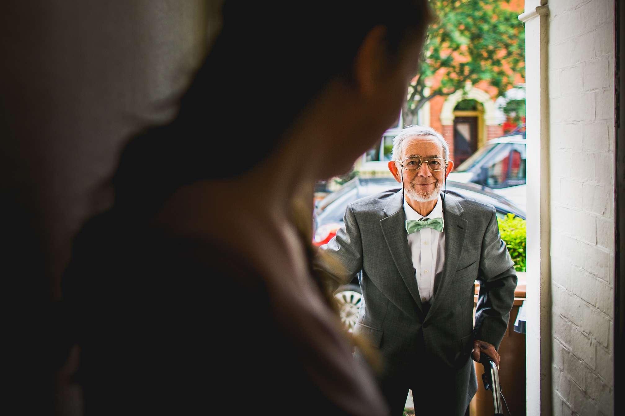Rachel's Grandad arriving