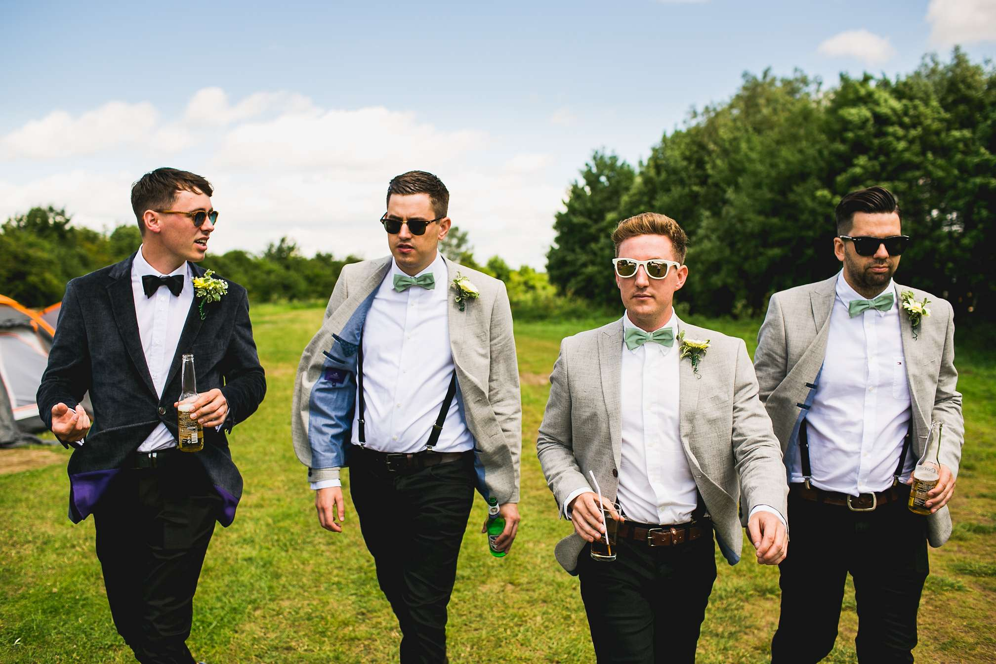 Groomsmen walking at Grendon Lakes