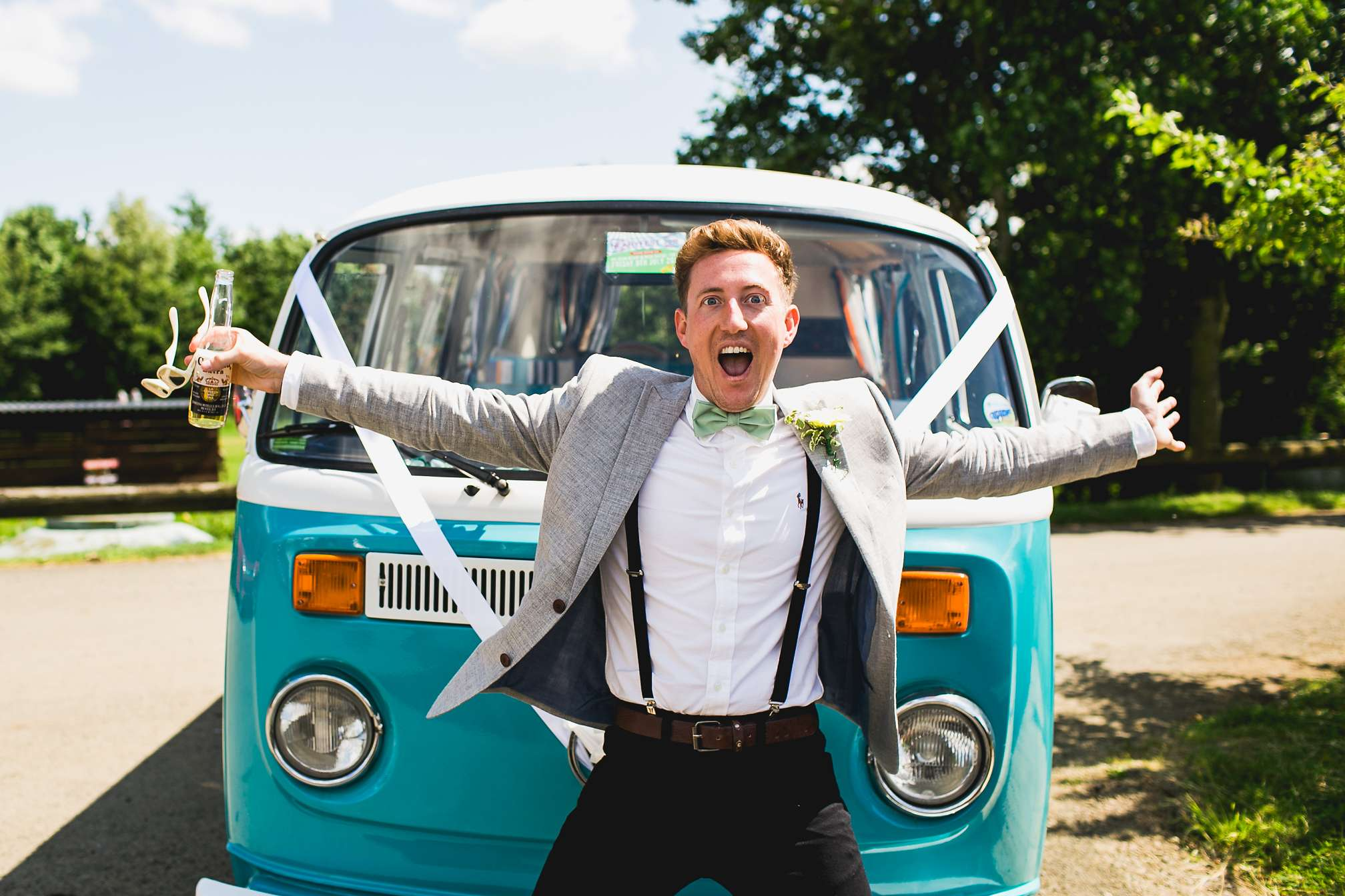 Sean's best man posing with the Classic VW Camper