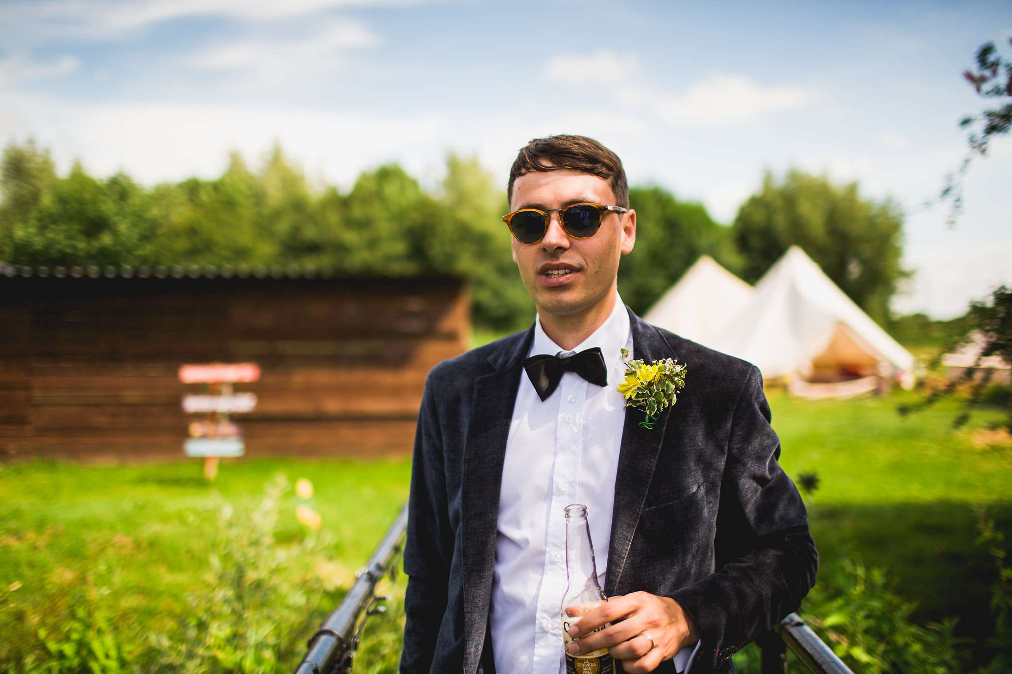 Cool groom in shades
