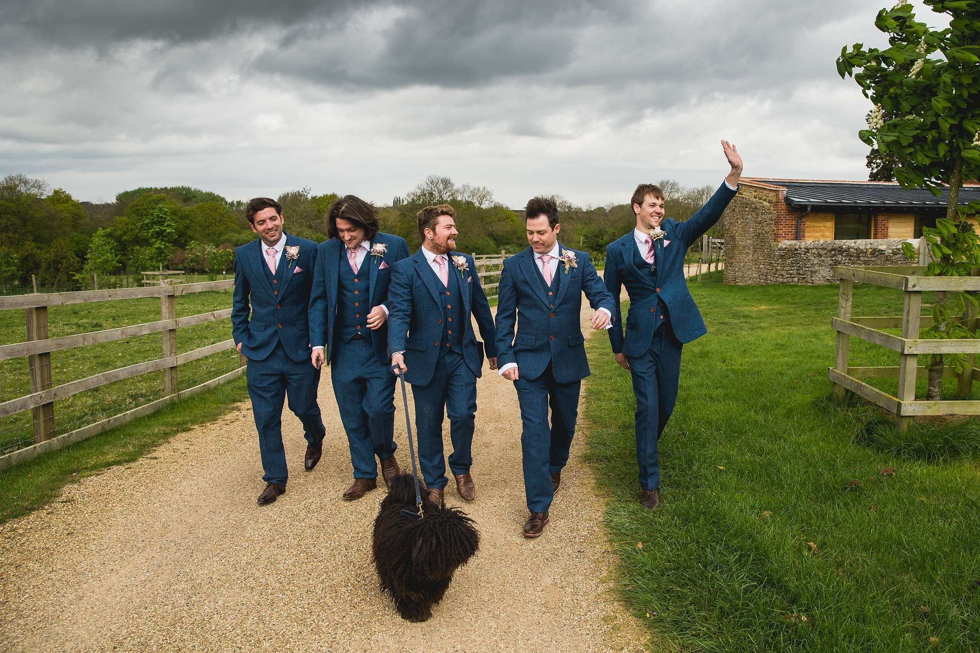 Groomsmen going for a walk