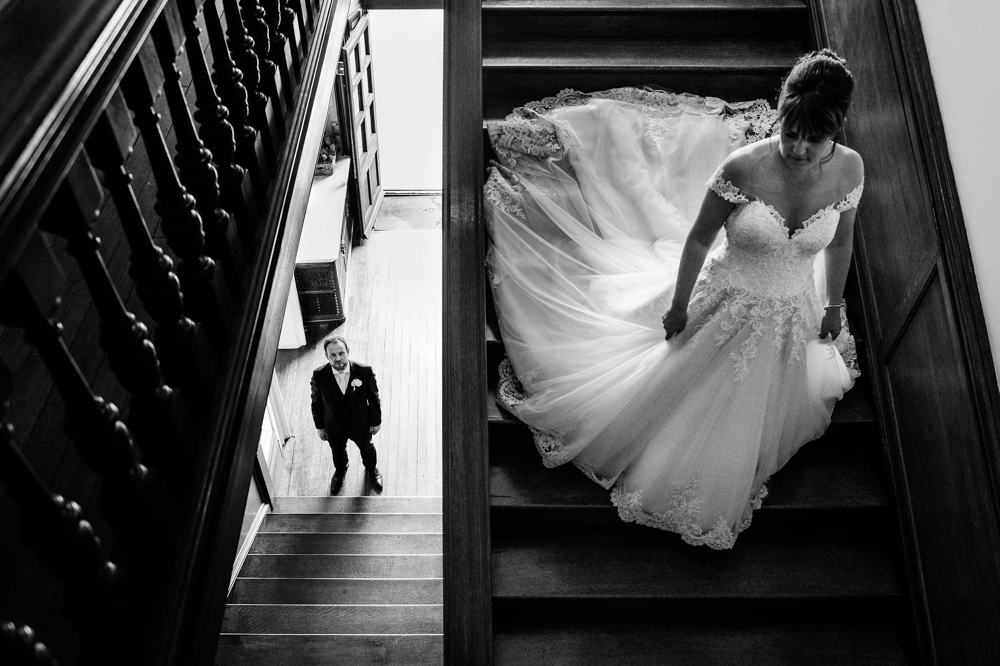 Holdenby House Staircase Wedding Photo