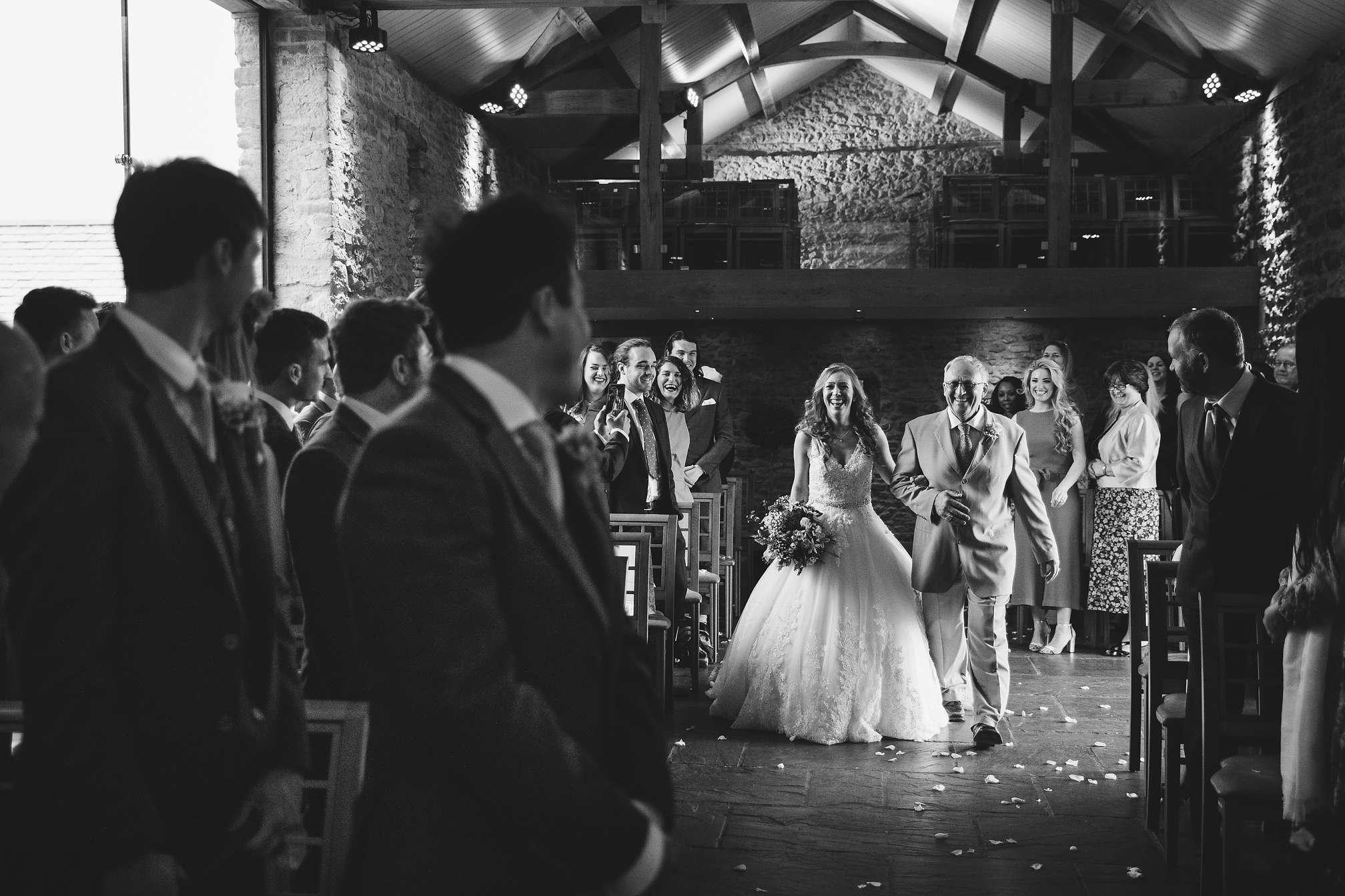 Holly walking down the isle at Dodford Manor