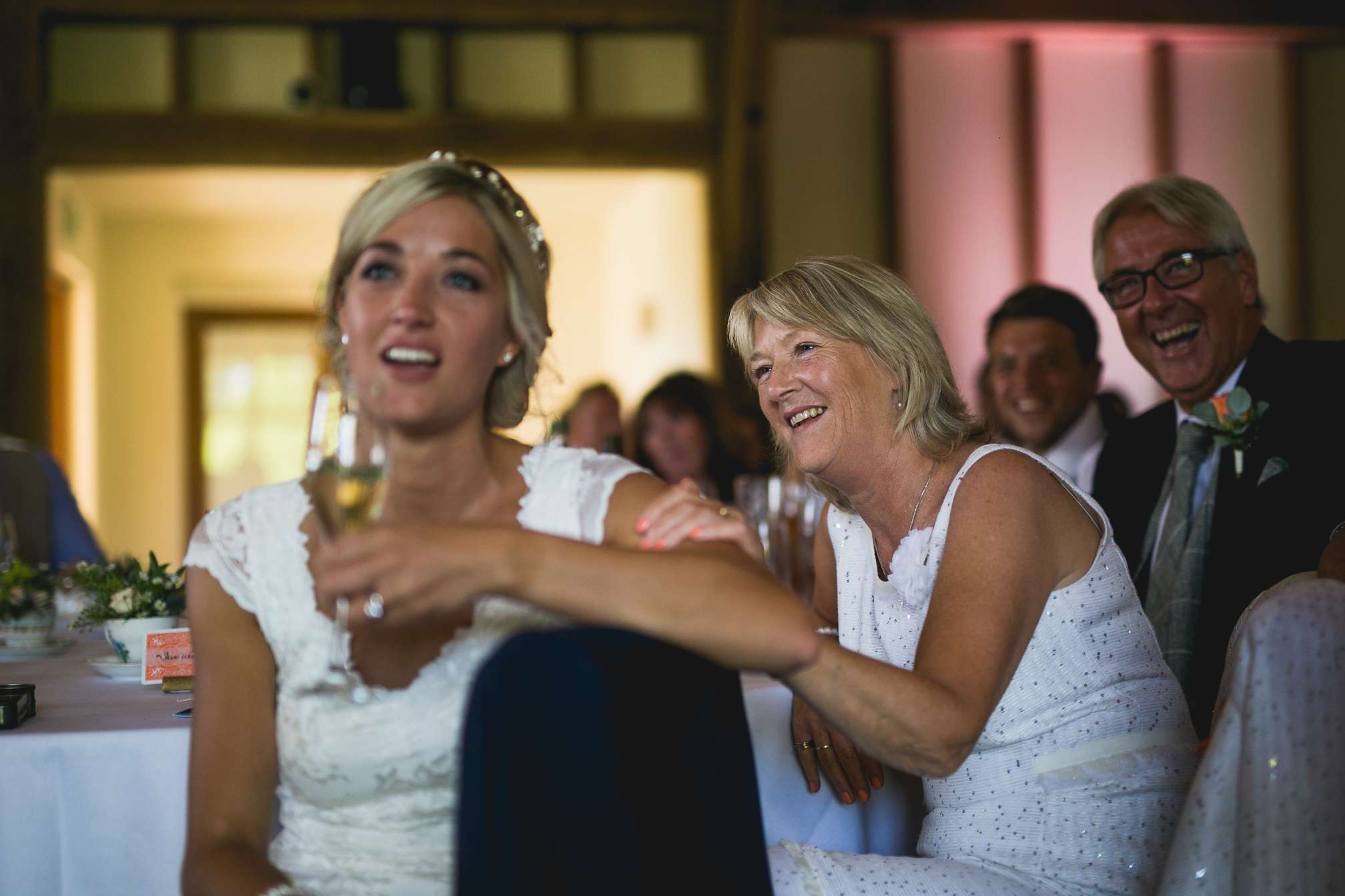 Janes mum laughing during the speeches