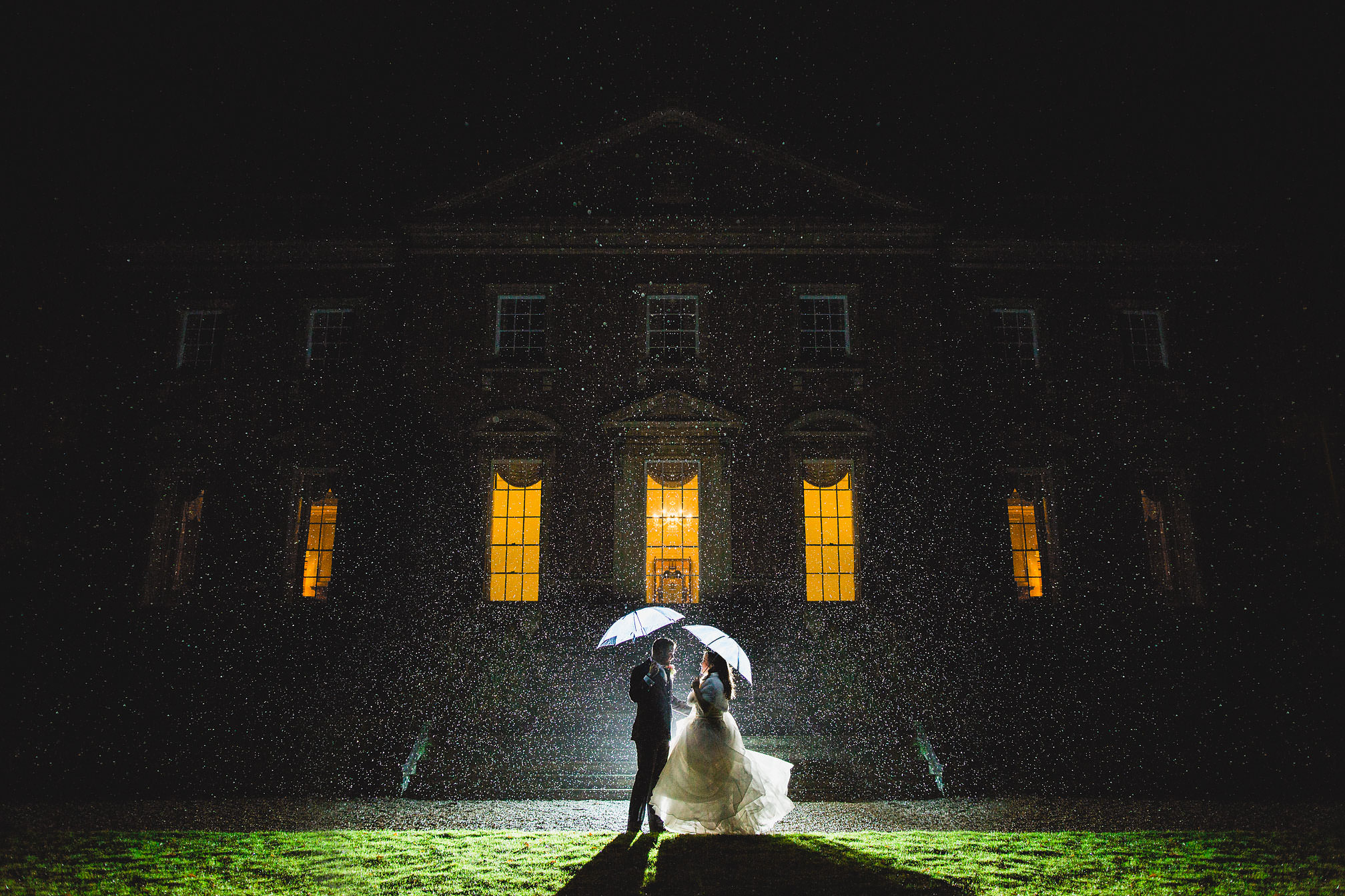 Kelmarsh Hall, Northamptonshire - Winter Night Rainy Flash Portrait