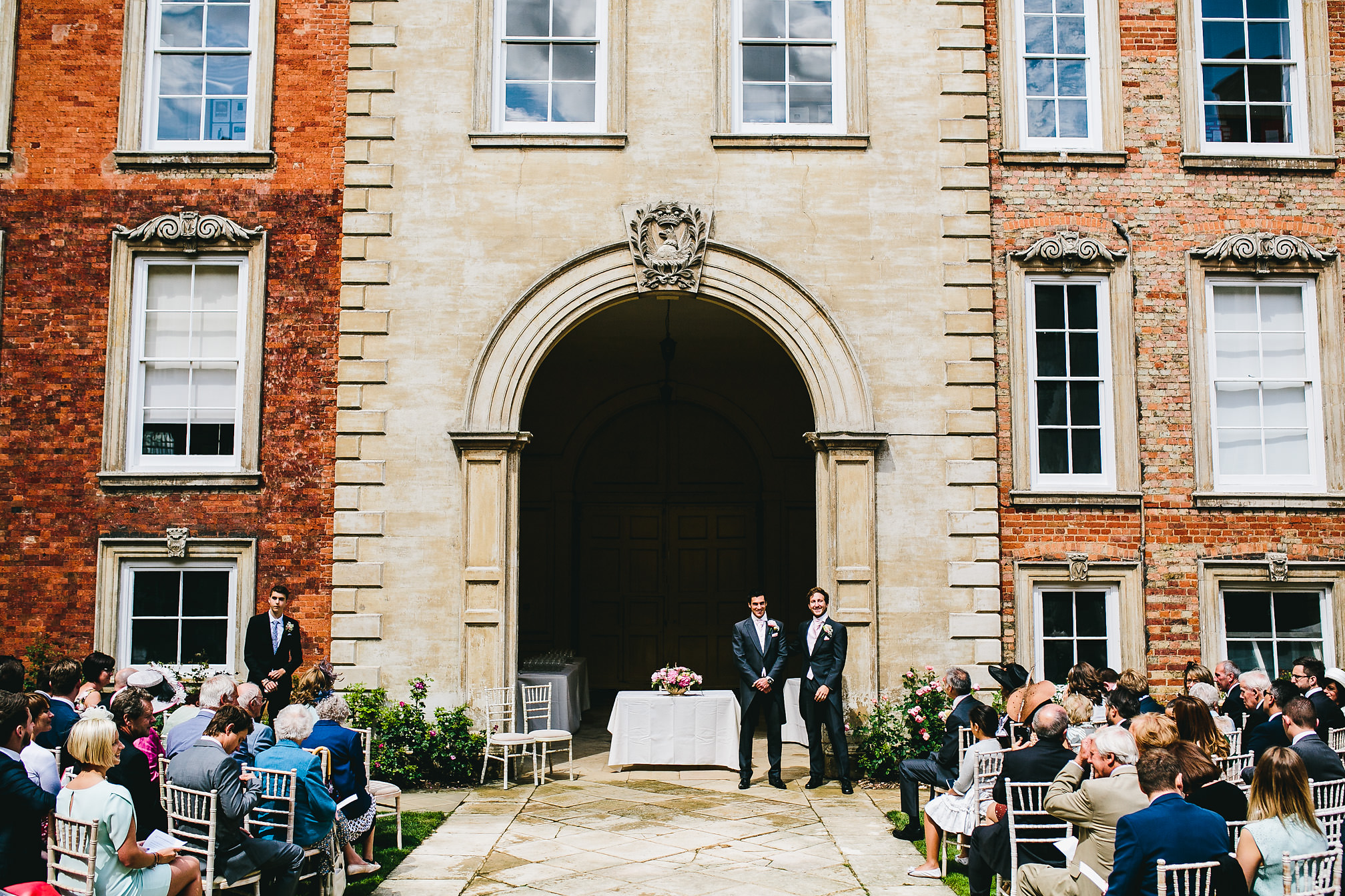 Groom waiting for the bride - Kimbolton Castle Wedding