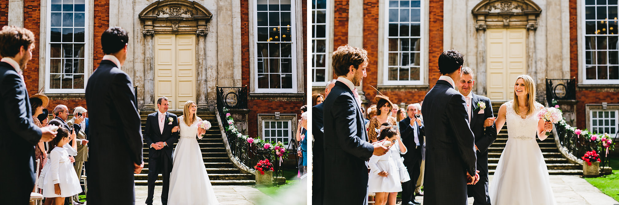 Bride walking down the isle - Kimbolton Castle Wedding