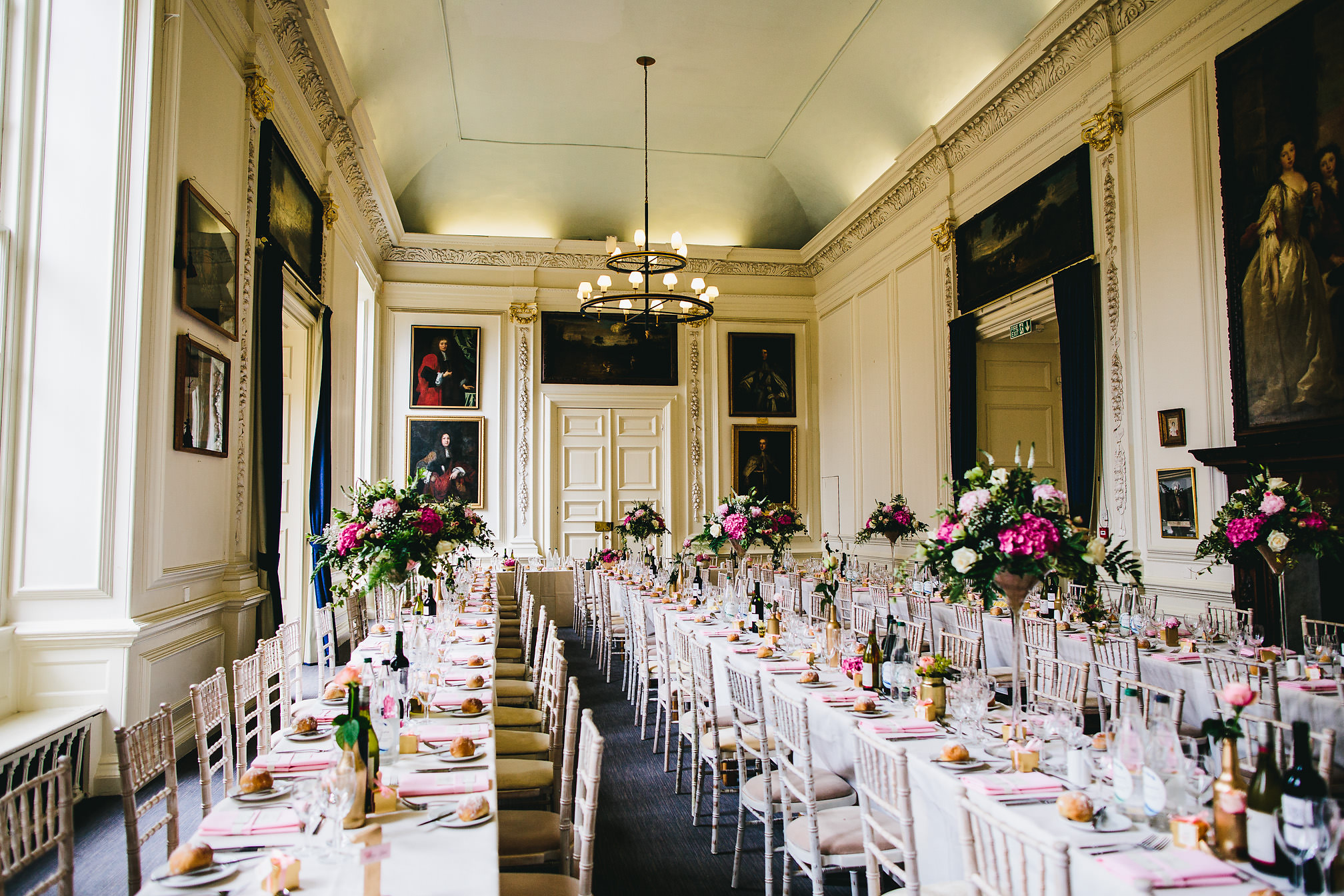 Wedding breakfast Room at Kimbolton Castle
