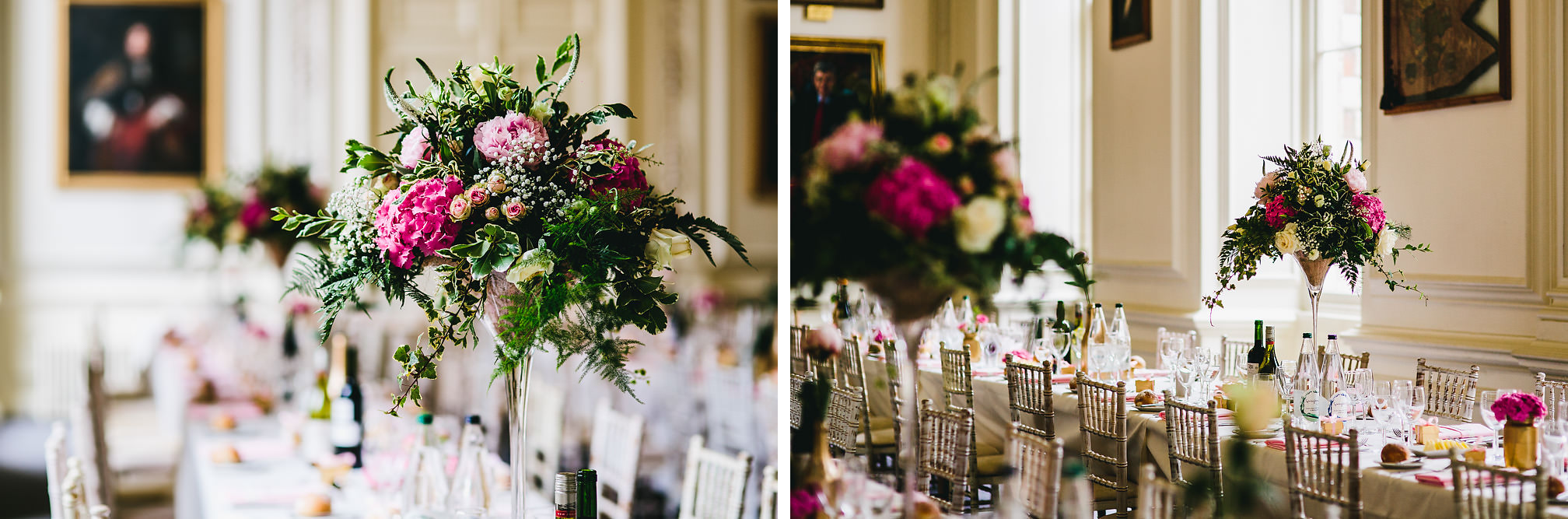 Table Wedding Flowers at Kimbolton Castle