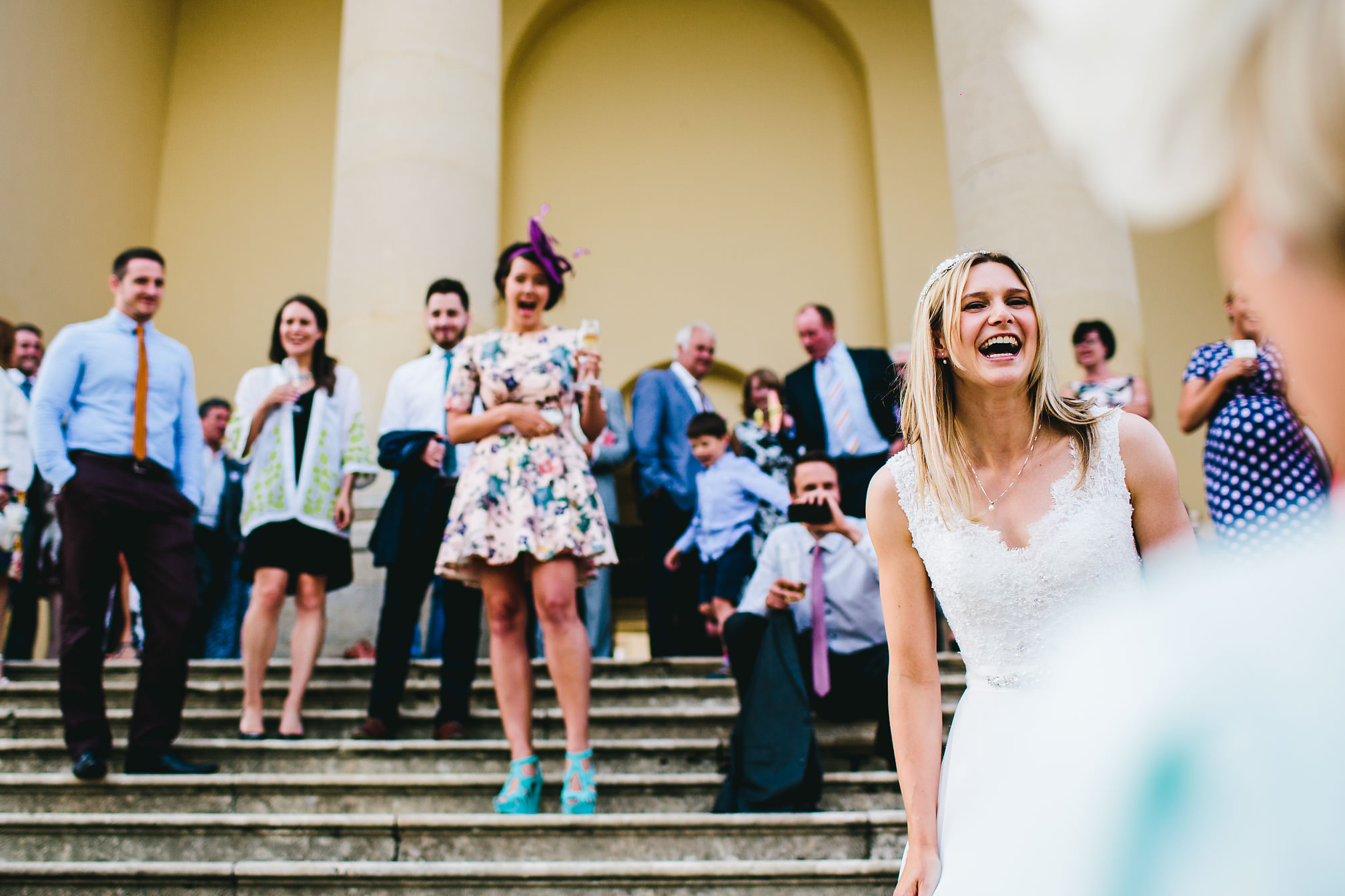Laughing bride at Kimbolton Castle