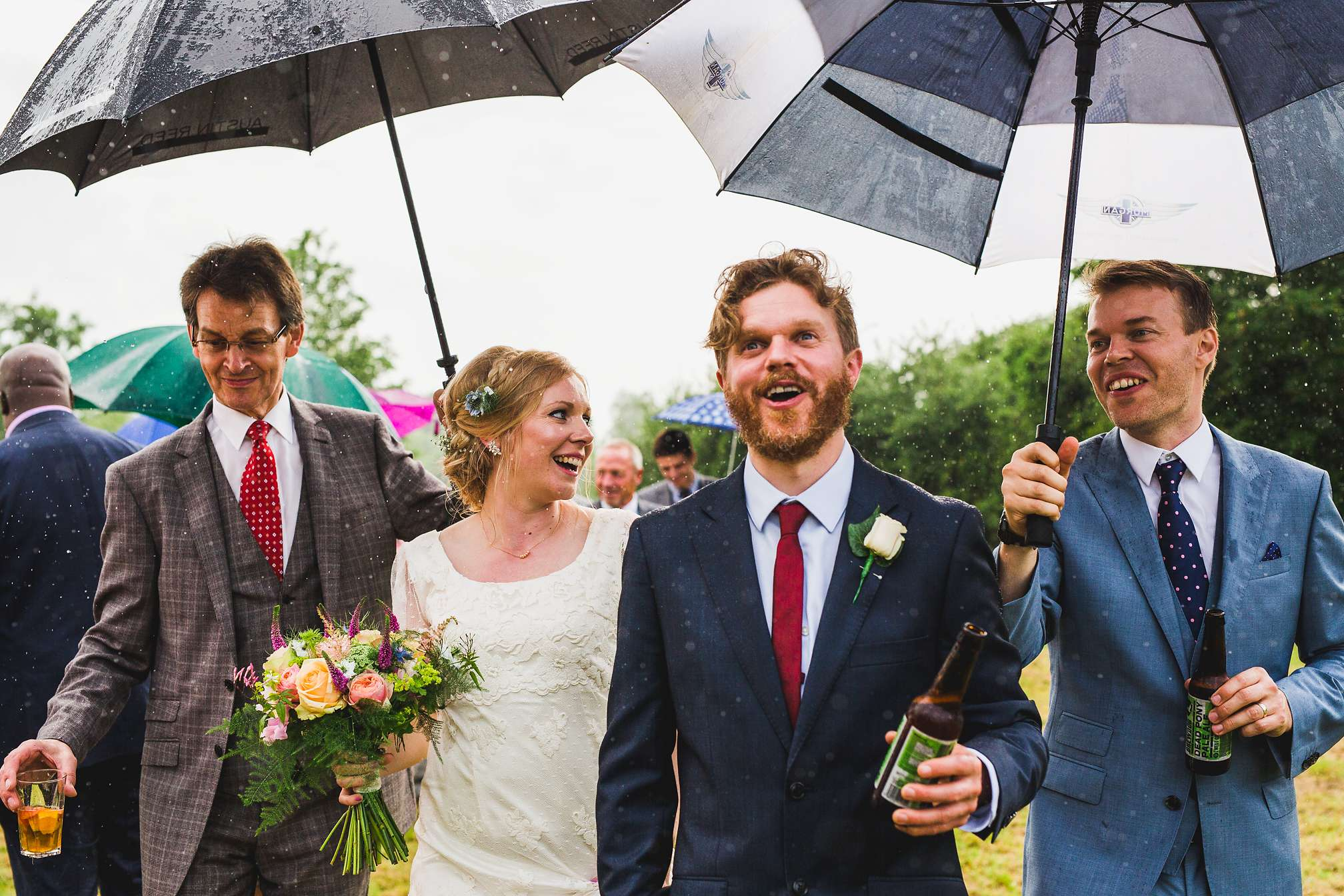 DIY yurt wedding in the rain