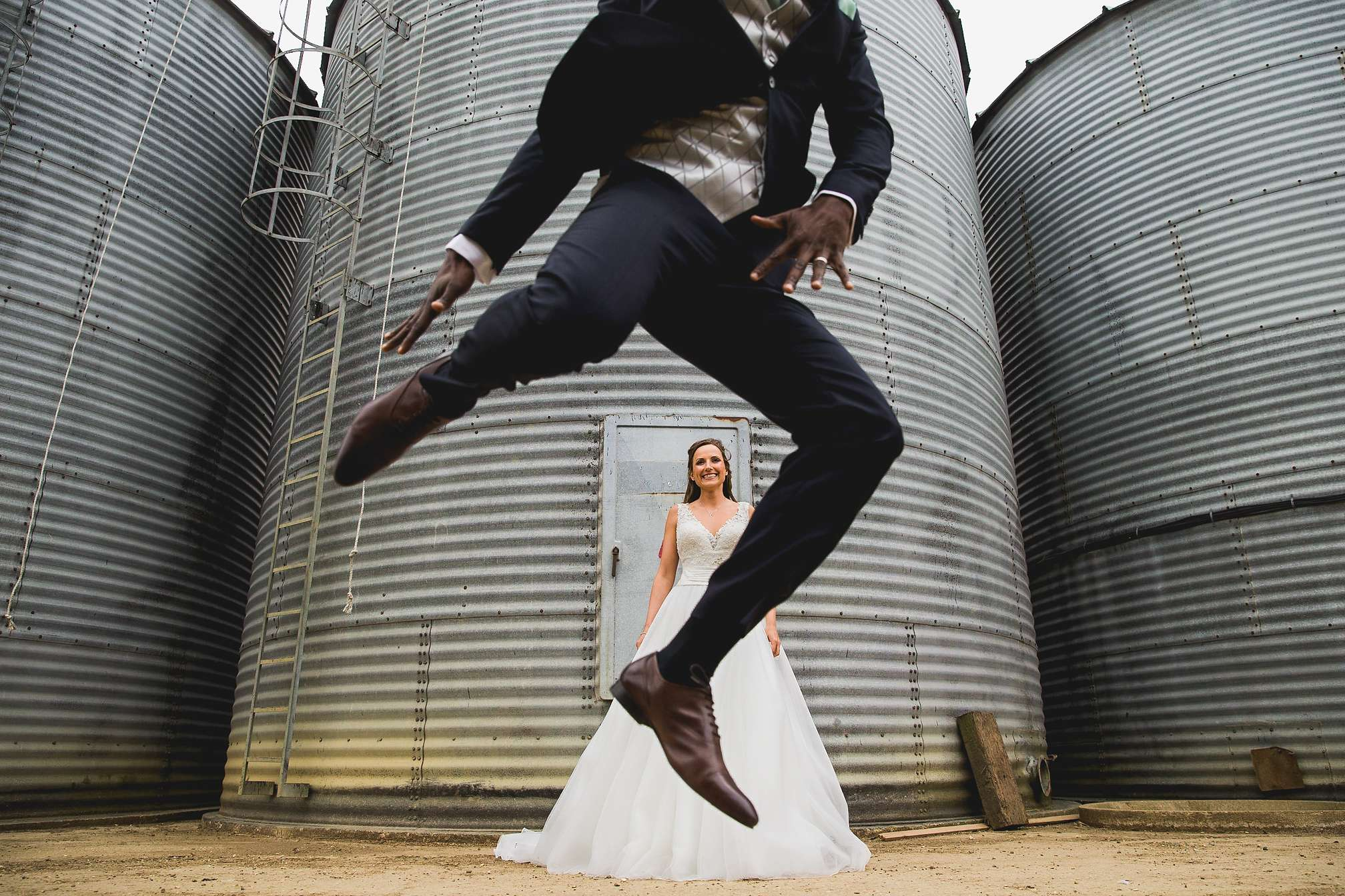 Unusual quirky wedding portrait