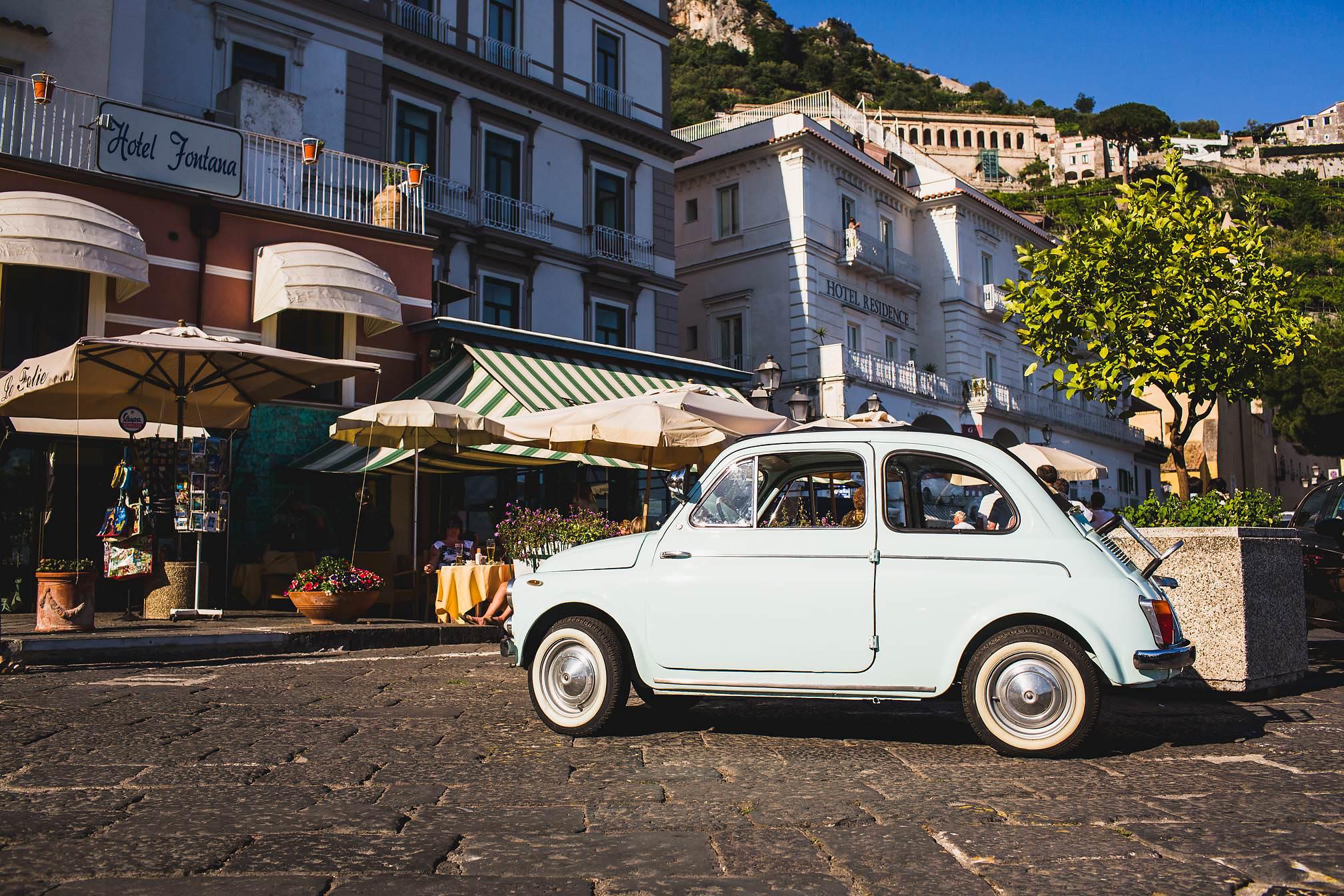 Classic Fiat 500 in Amalfi Coast