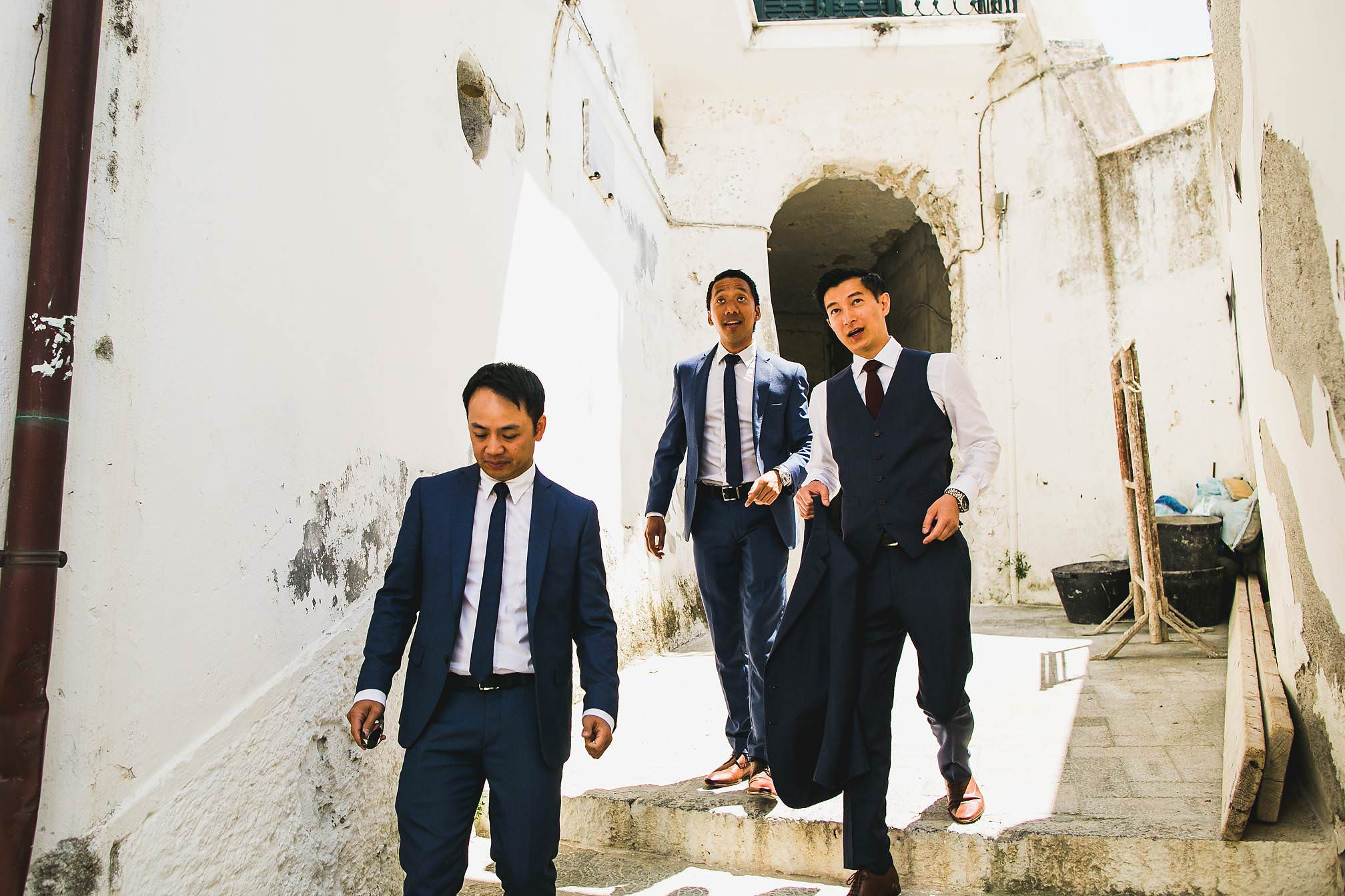 Groomsmen going for a walk on the morning of a wedding