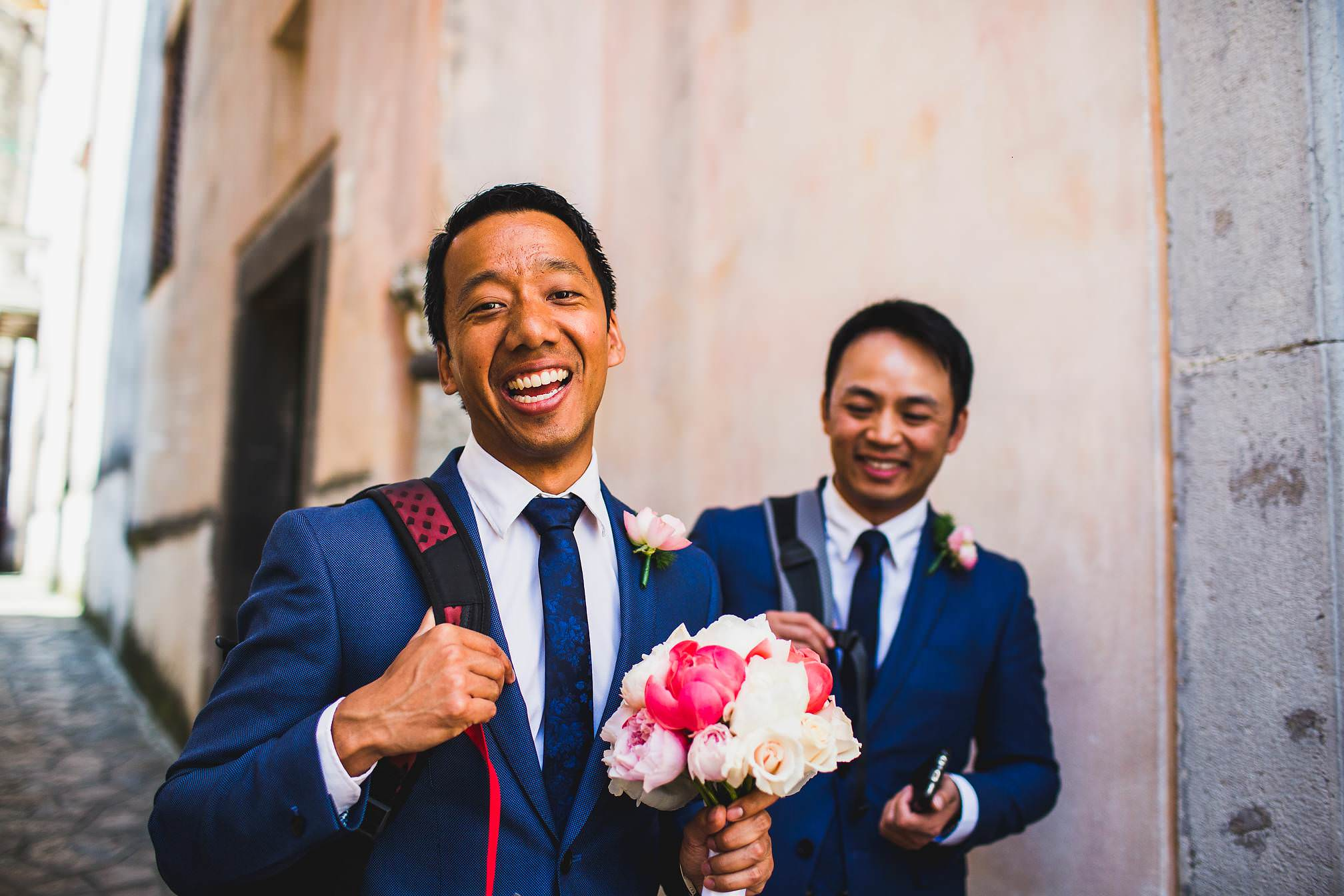 Groomsman laughing and smiling
