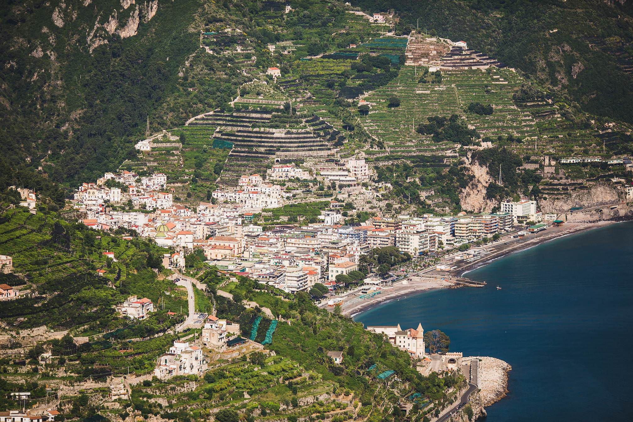 A view looking down onto the Italy Coastline