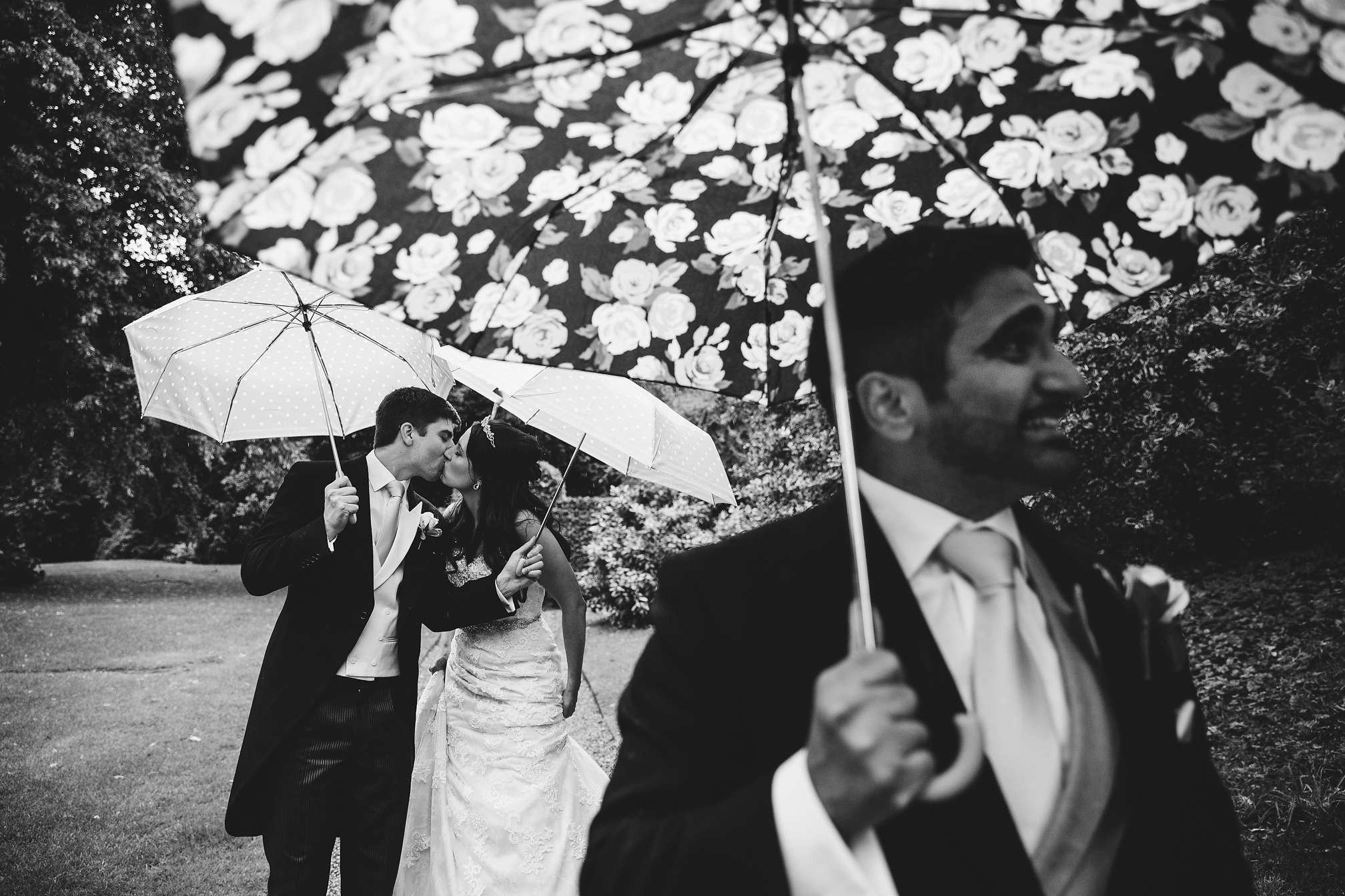Rockingham Castle - Wet Rainy Wedding Award Winning Portrait