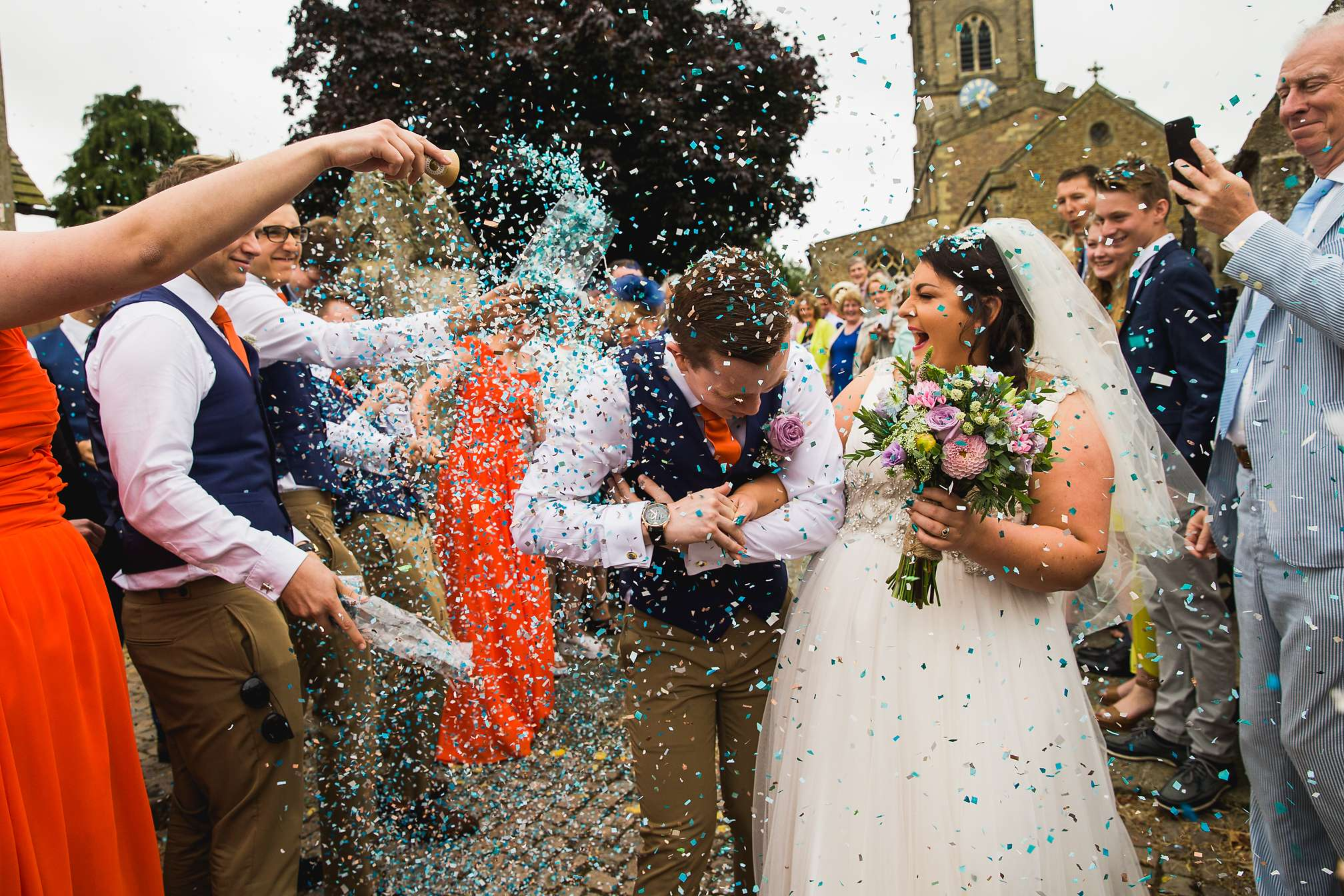 Wonderful confetti picture at Sandra and Mikey's DIY wedding