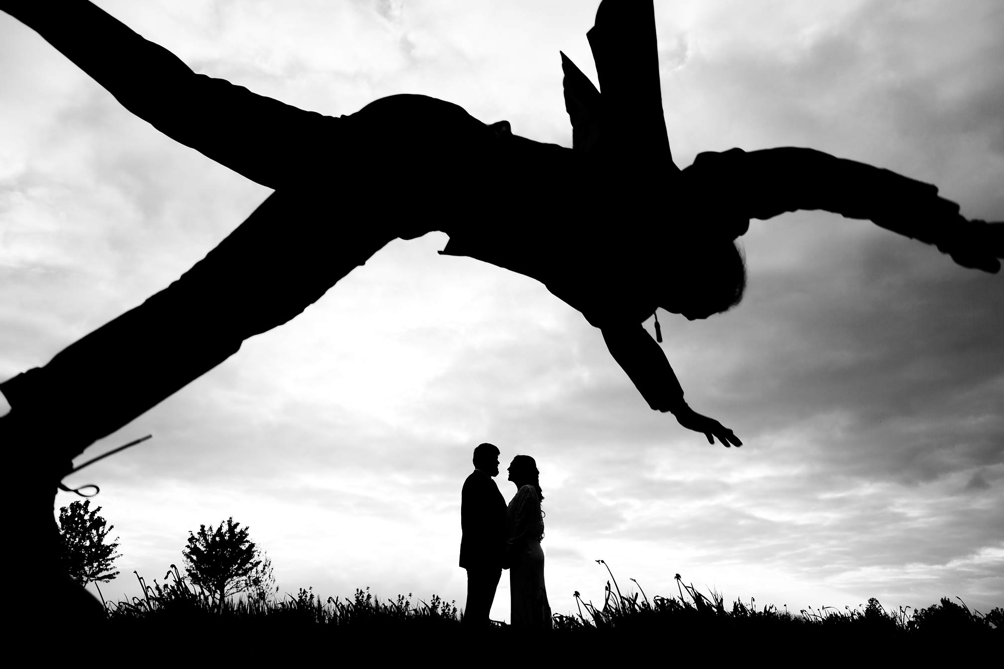Award winning silhouette of a wedding couple at South Farm, Royston
