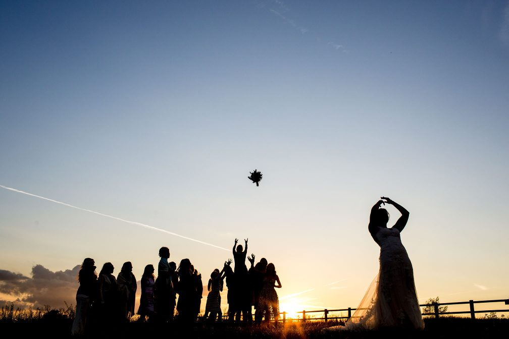 Incredible Award Winning Bouquet Tossing at Sunset Golden Hour