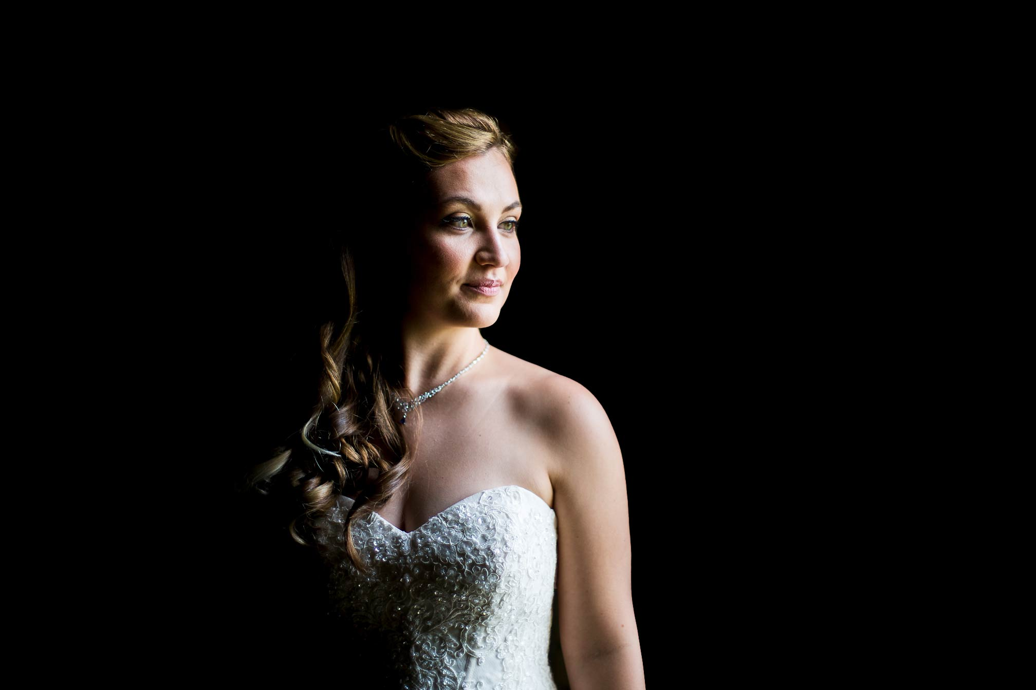 Stunning bridal portrait using window light