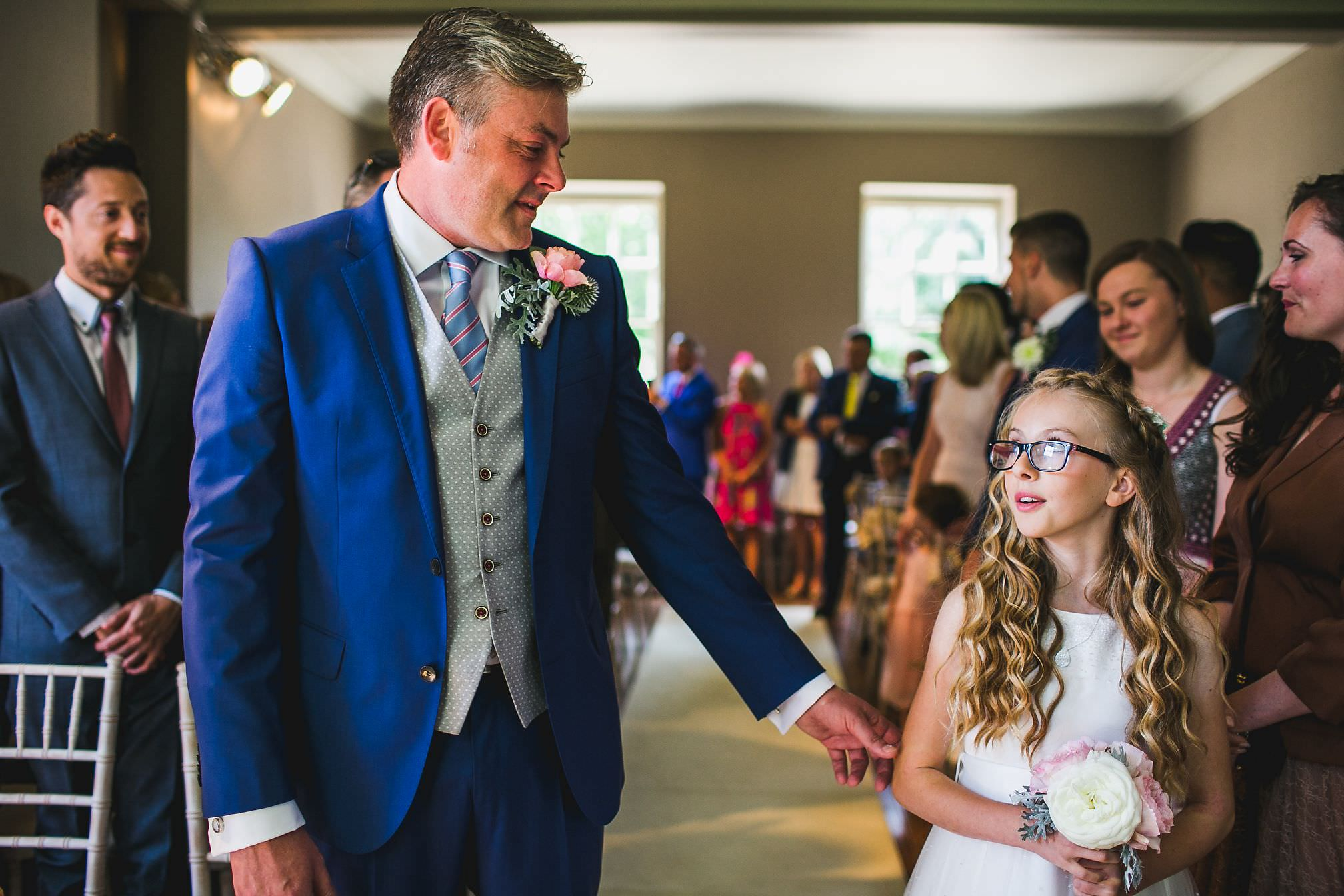 Emotional moment between Groom and Flower Girl