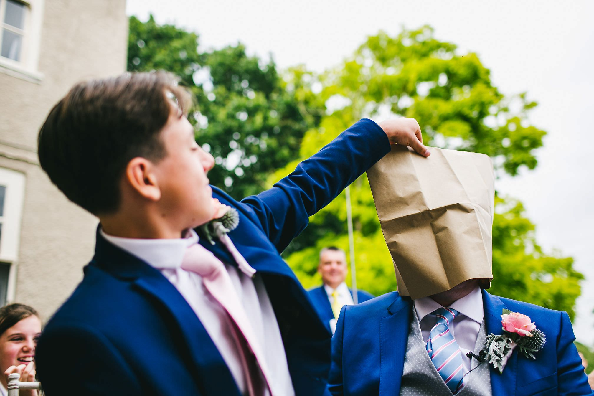 Paper Bag over Grooms Head