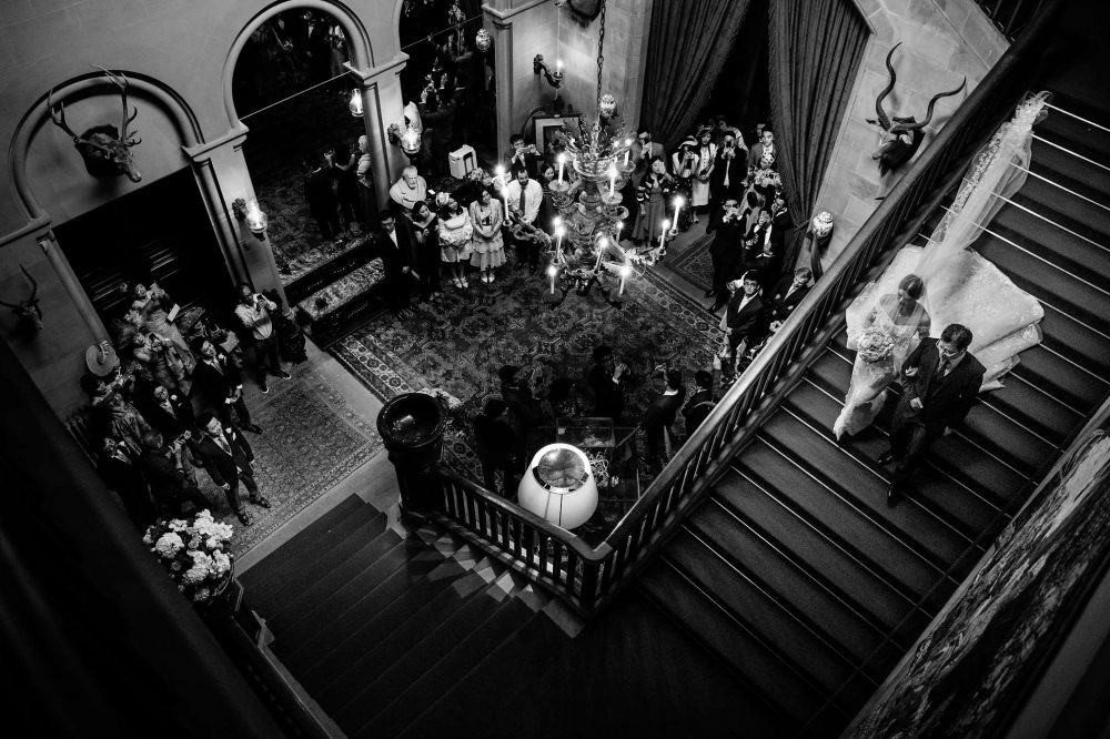 The Brides Grand Arrival at Eastnor Castle
