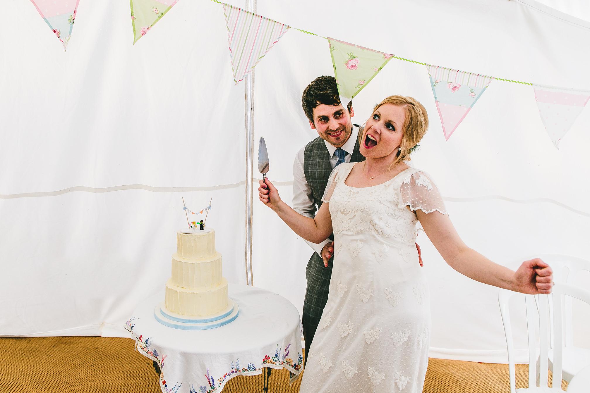 Vintage wedding cake cutting
