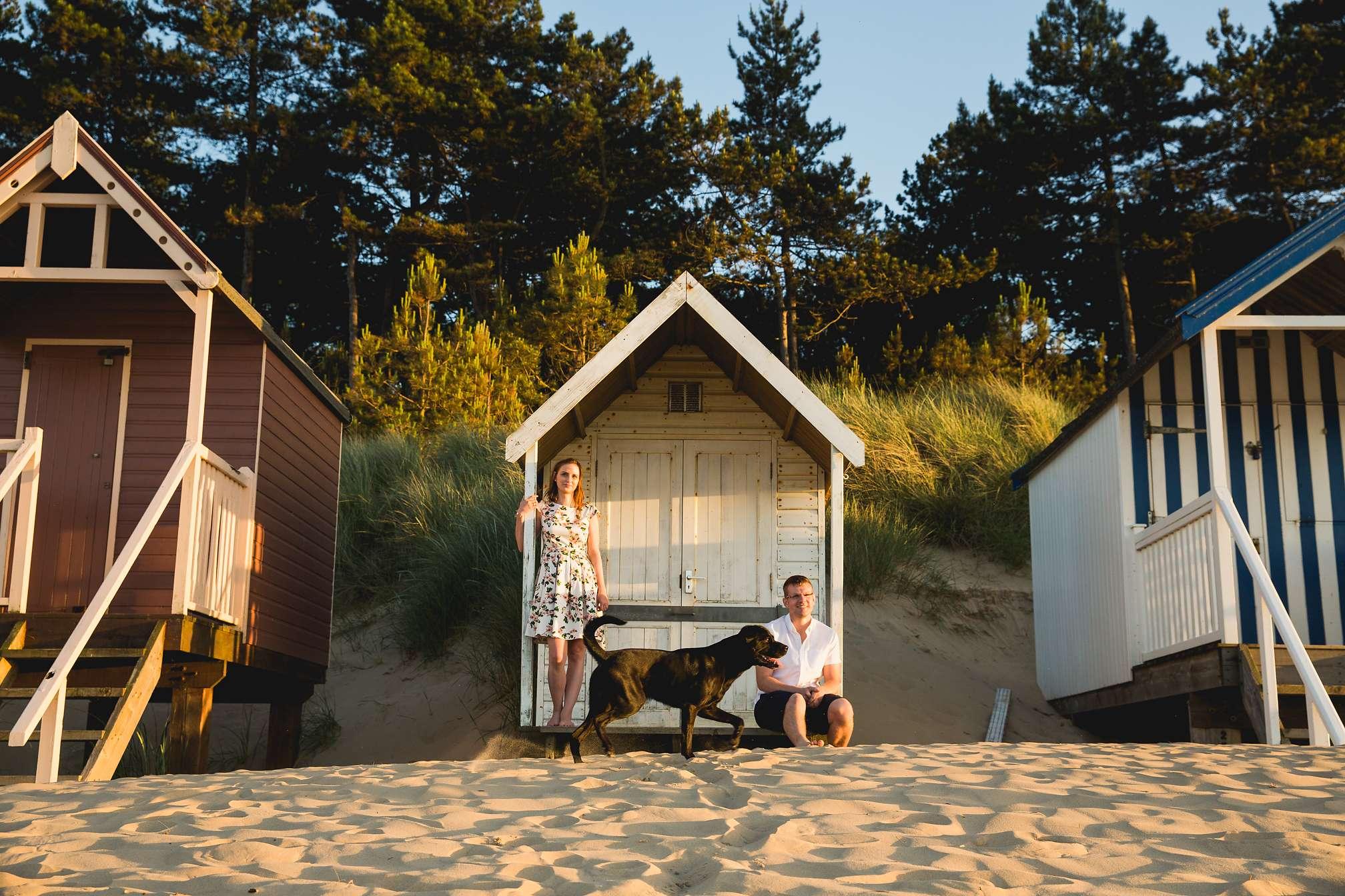 Laura and Tim at the beach huts at Wells-next-the-Sea
