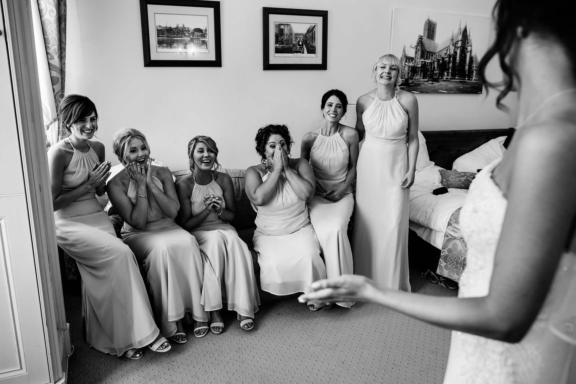 Bridesmaids Reaction in Black and White