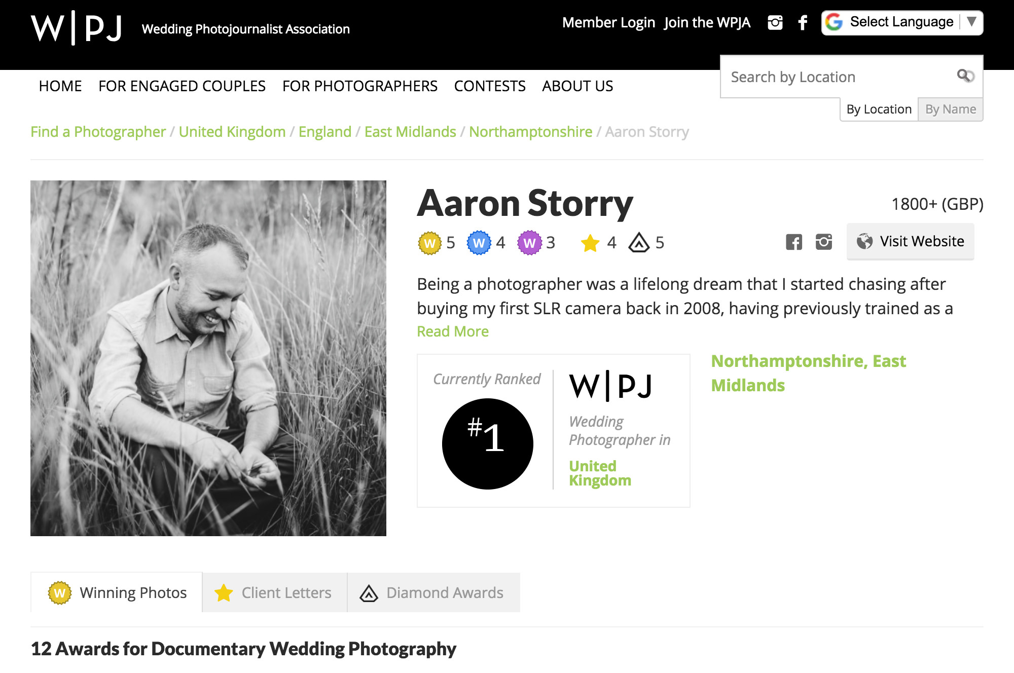 The WPJA's Number 1 Wedding Photographer for the UK (2018)